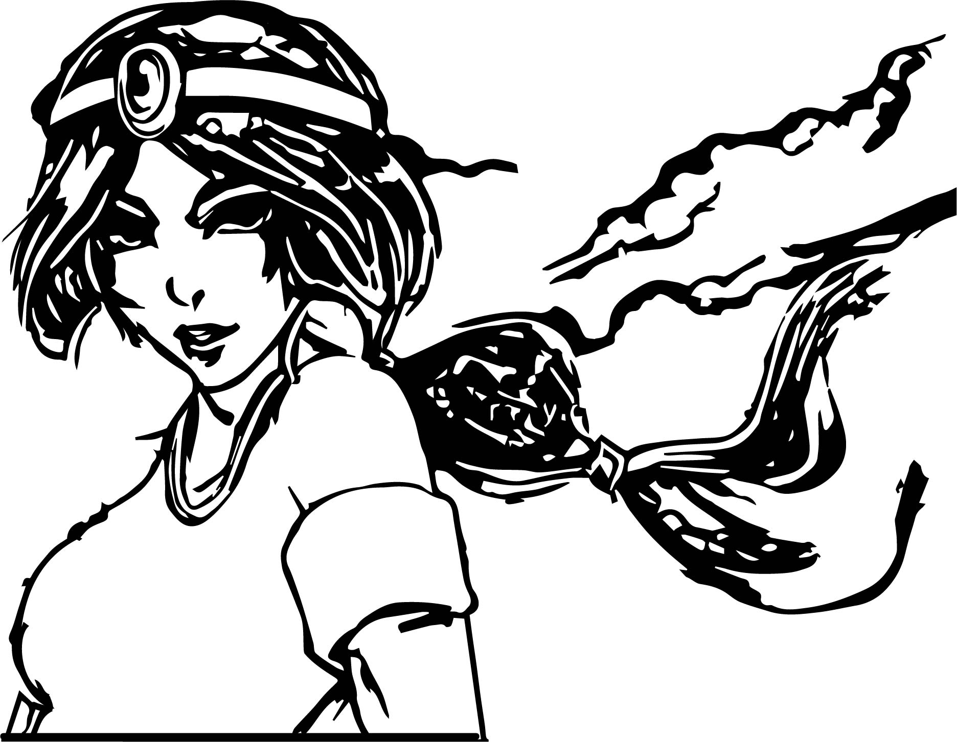 Jasmine Aladdin Manga Night Coloring Page