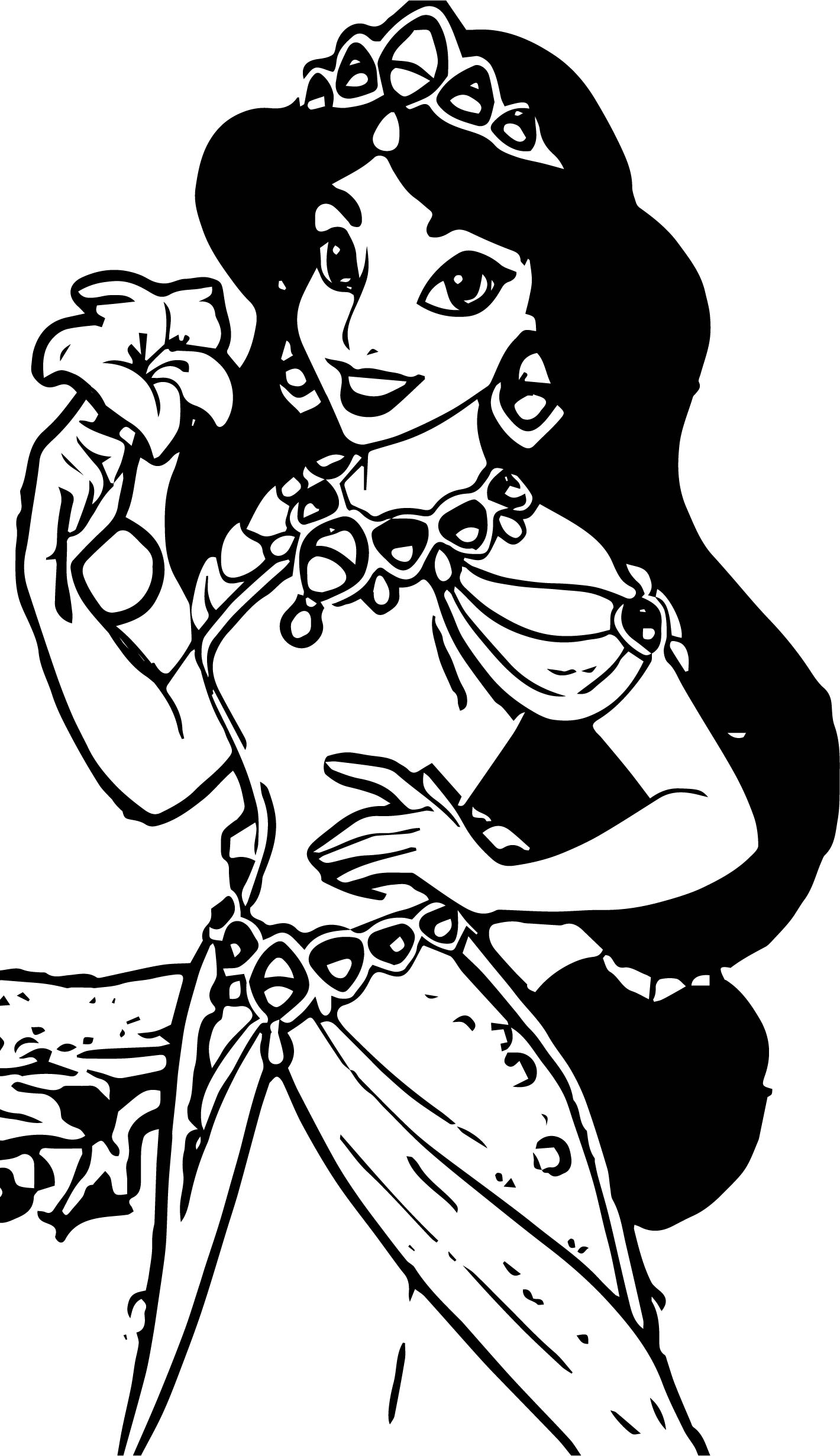 Jasmine In Flames Flower Aladdin Coloring Page
