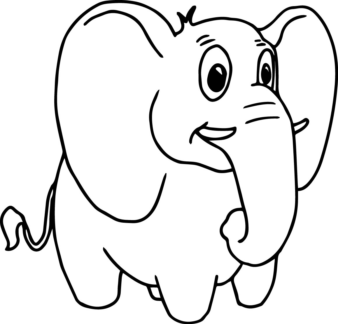 Look Elephant Coloring Page