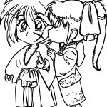 Manga Kids Girl Boy Shock Kiss Coloring Page