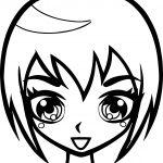 Manga Short Hair Girl Face Coloring Page