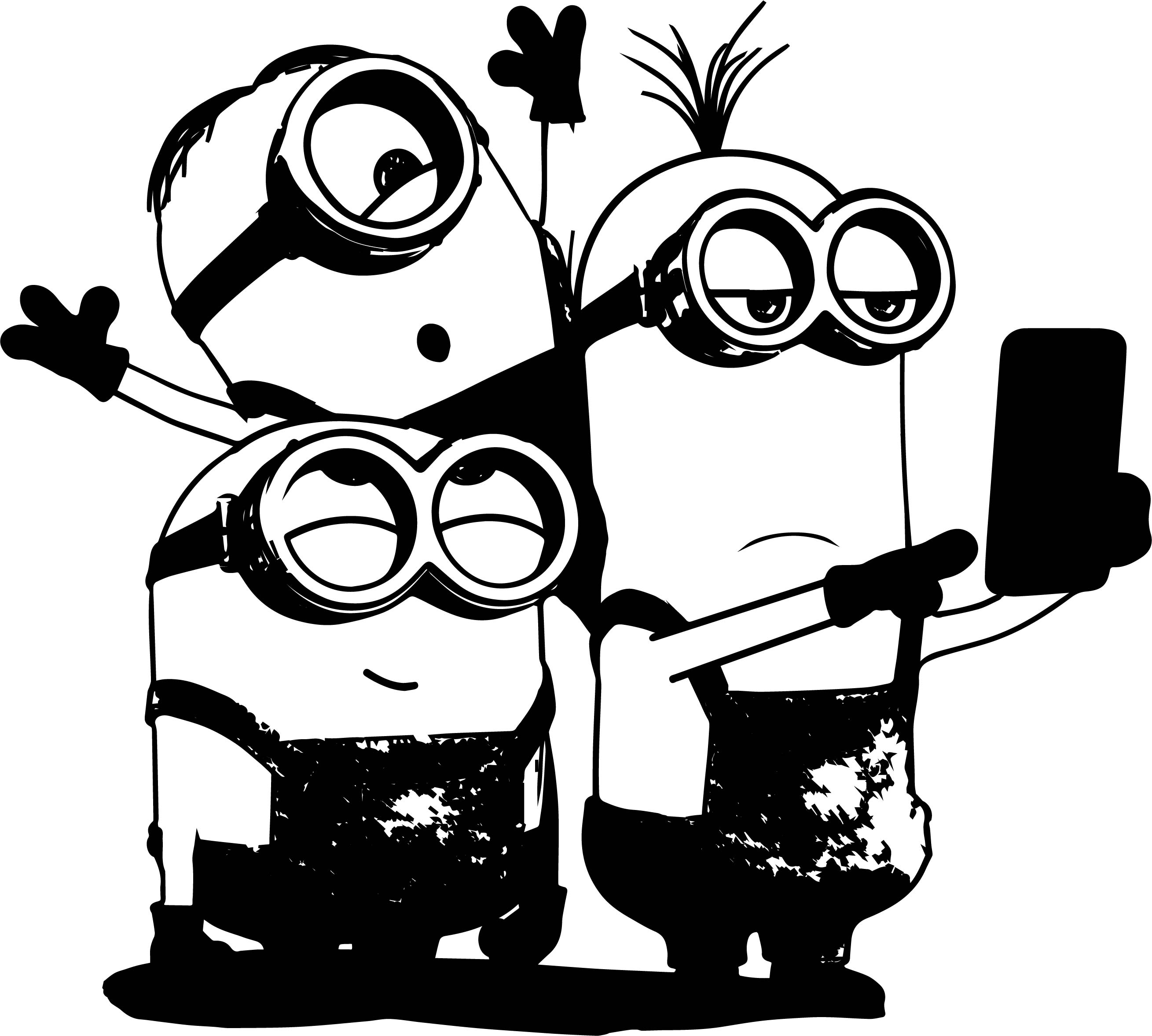 Minions Selfie Coloring Page | Wecoloringpage.com Minion Drawing Dave