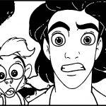 Monkey Prince Aladdin Shock Walt Disney Characters Coloring Page