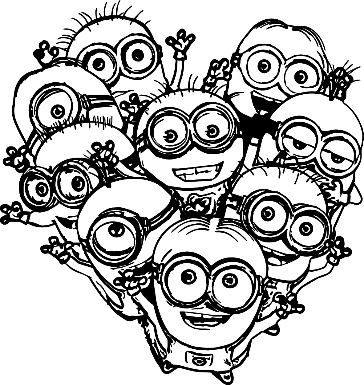 Multiple Minions Coloring Pages | Wecoloringpage.com
