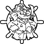 Pirate Elephant In Circle Coloring Page