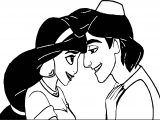 Prince Aladdin And Jasmine Head To Head Love Coloring Page