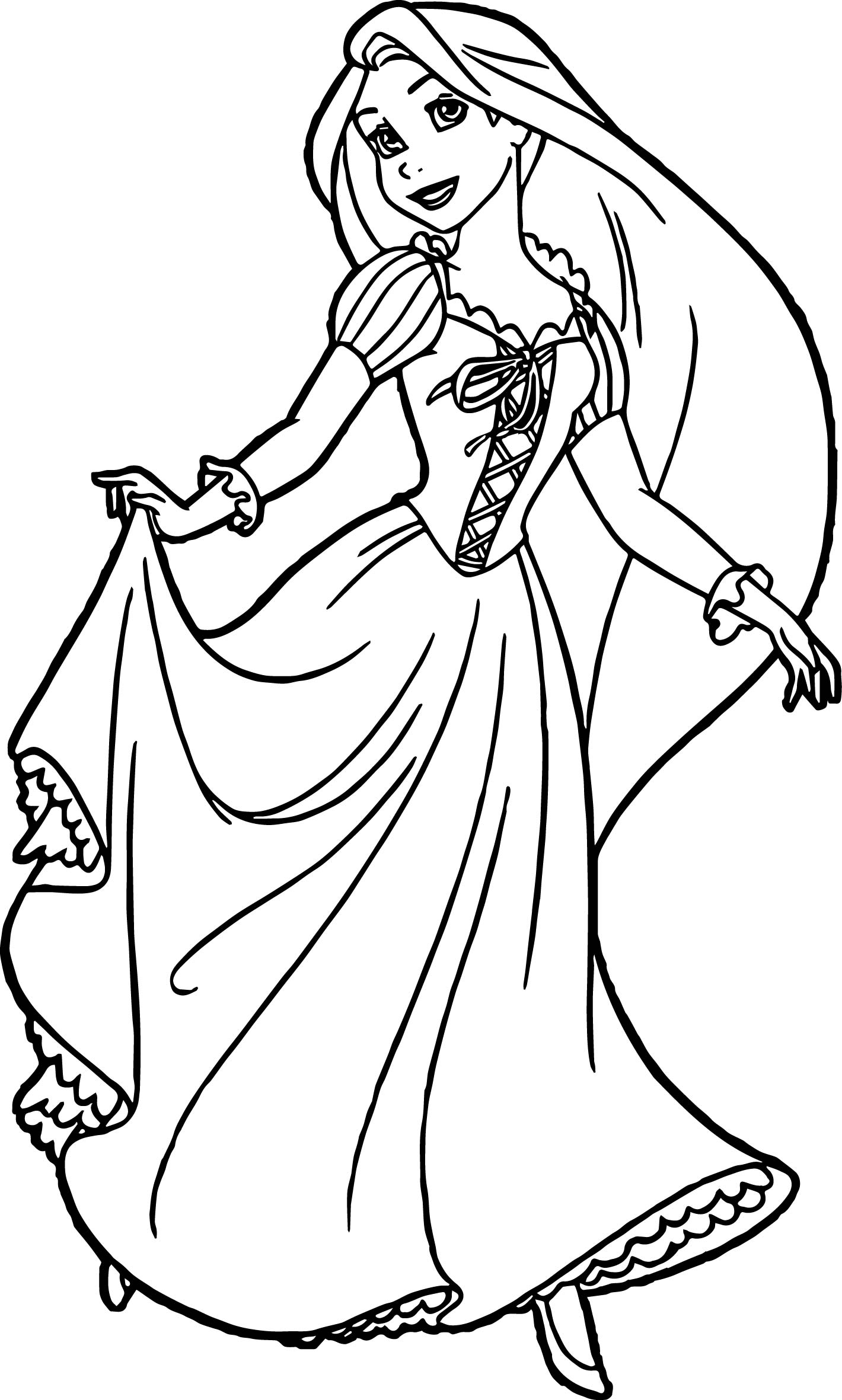 Rapunzel and flynn ready coloring page for Tangled coloring pages