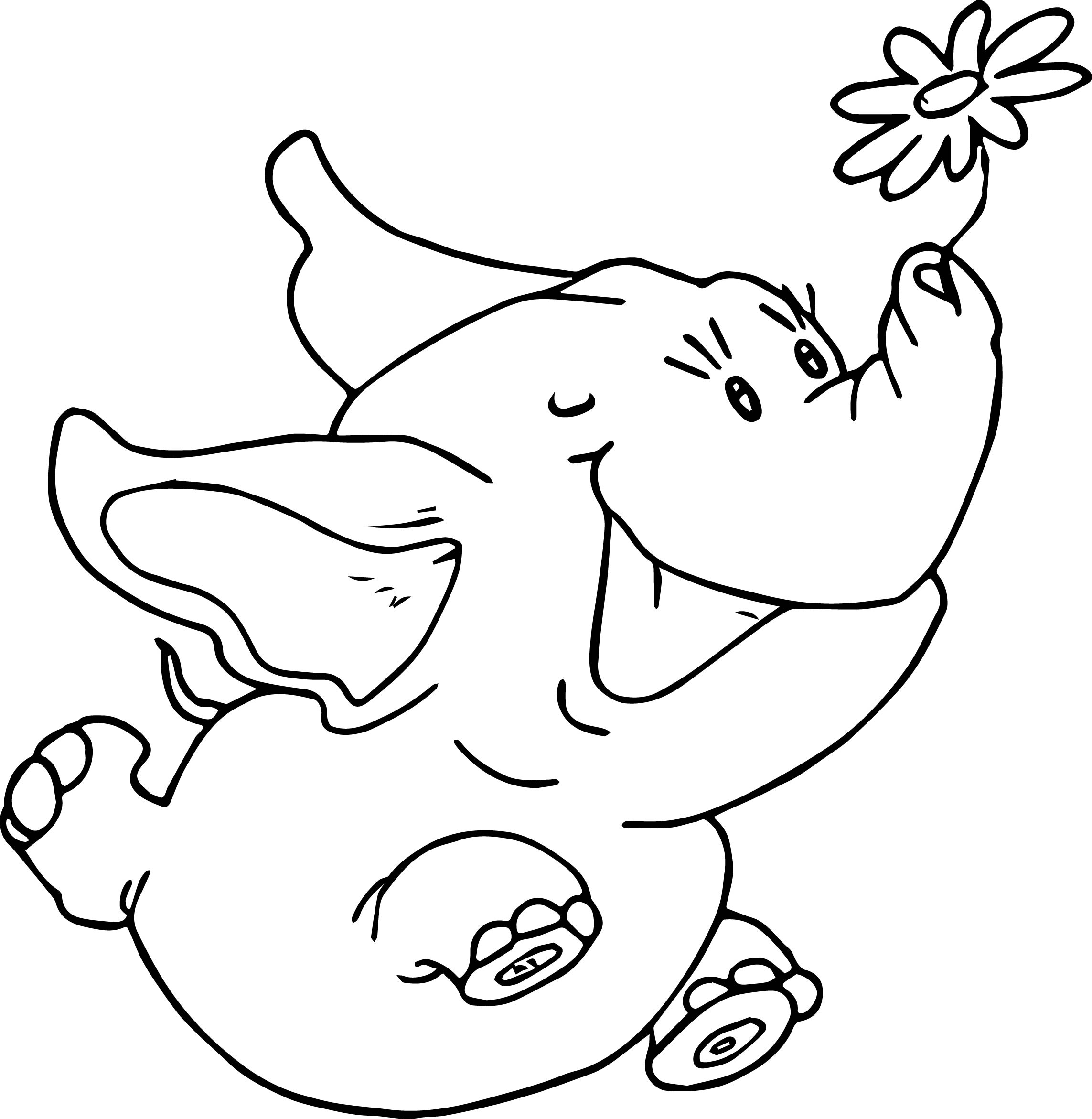 Running Elephant With Flower Coloring Page