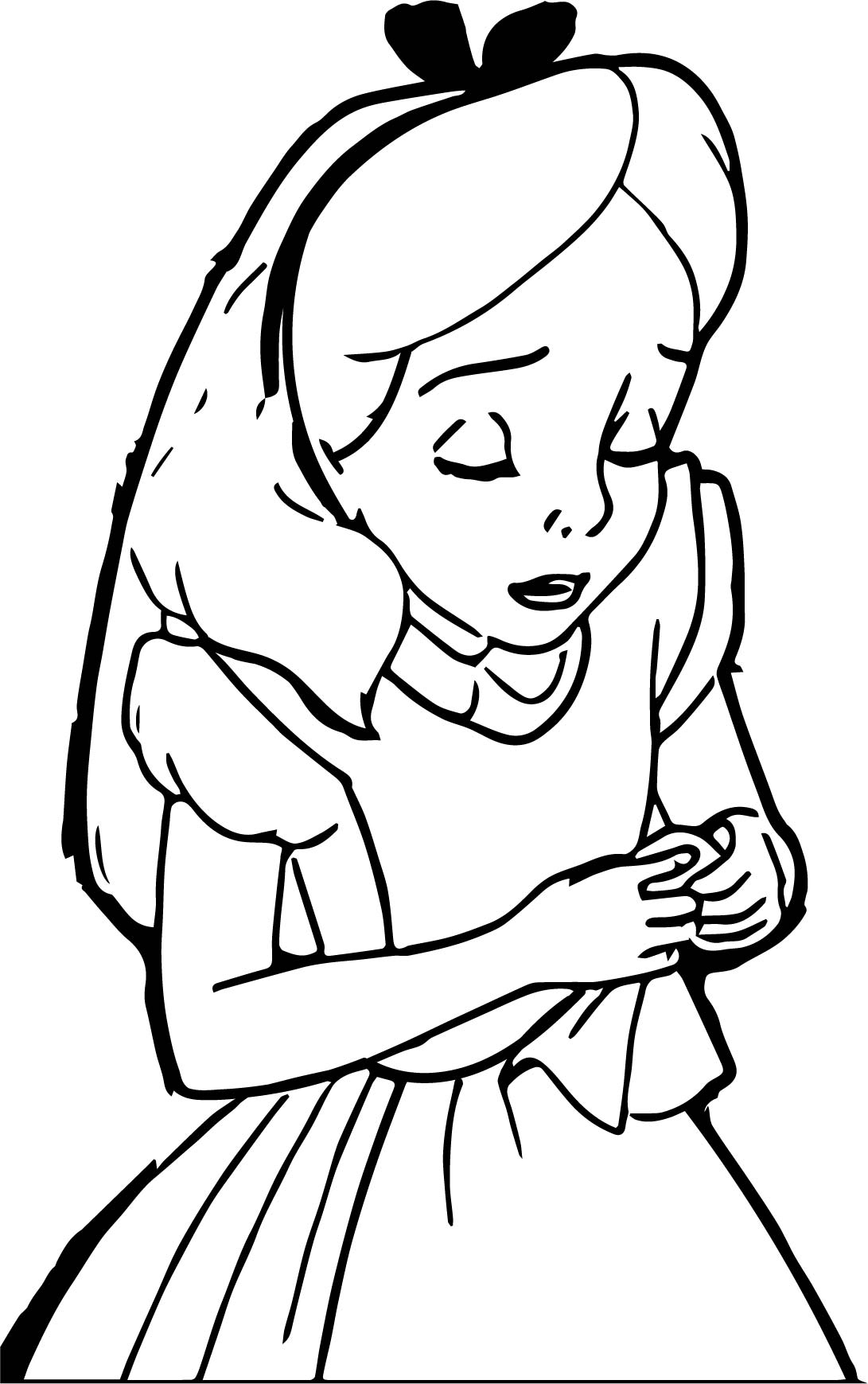 Sad Alice In The Wonderland Coloring Page
