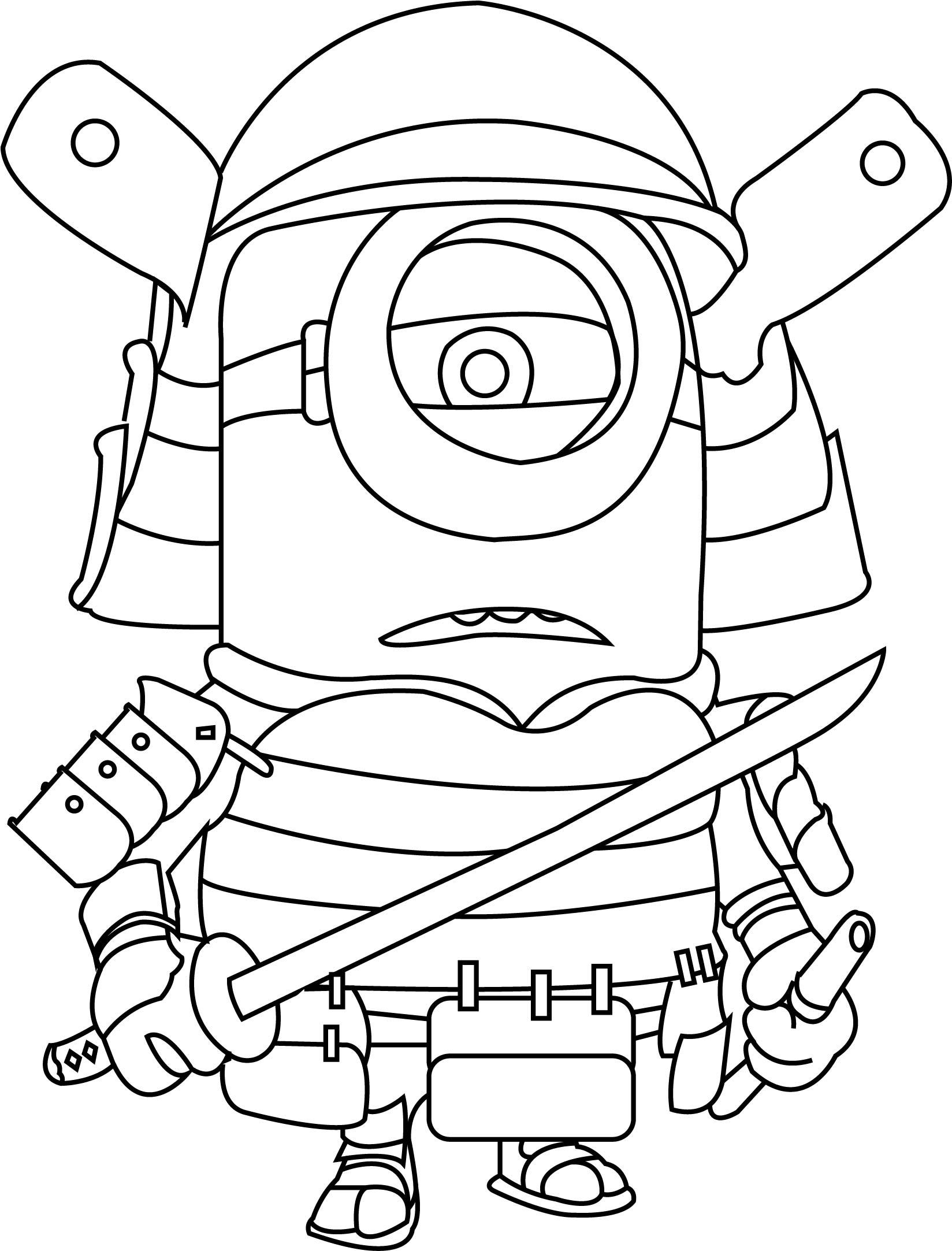 Samurai minions coloring page for Katana coloring page
