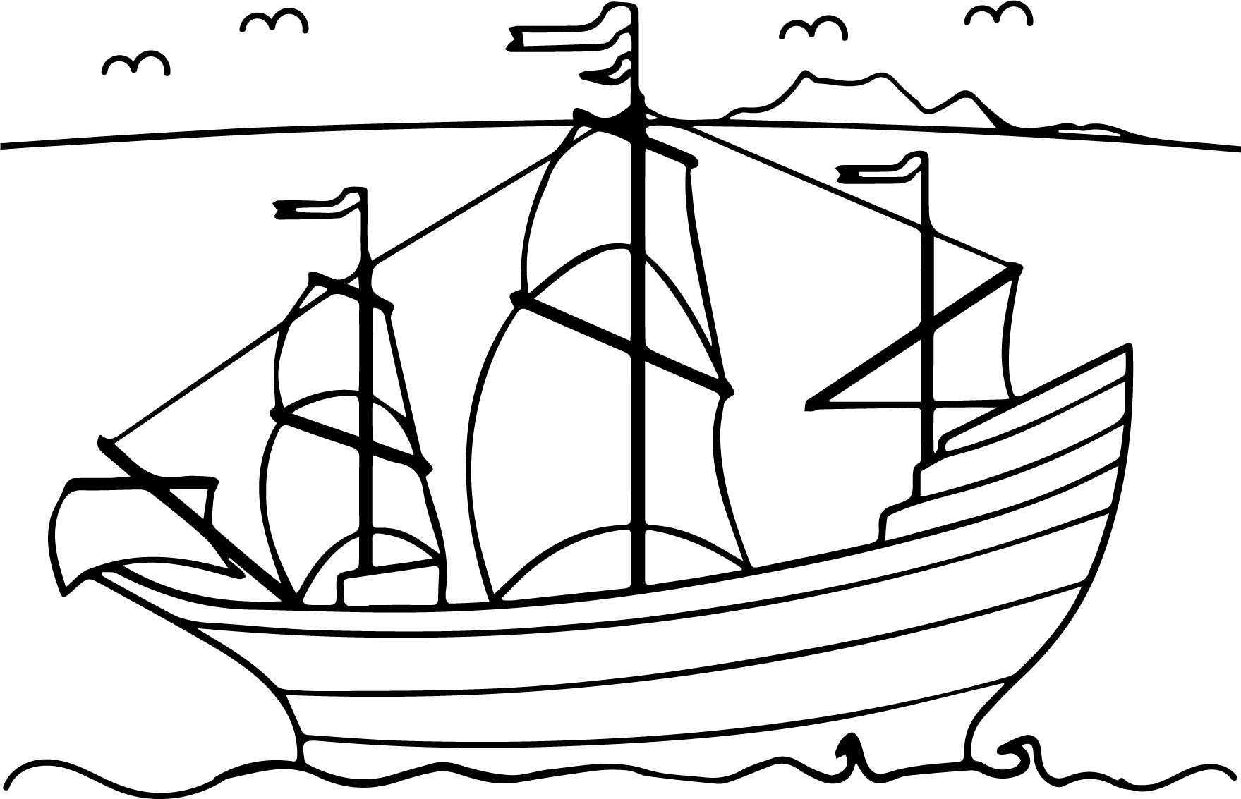 Ship Sea Coloring Page