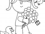 Spring Girl Duck Bird Coloring Page