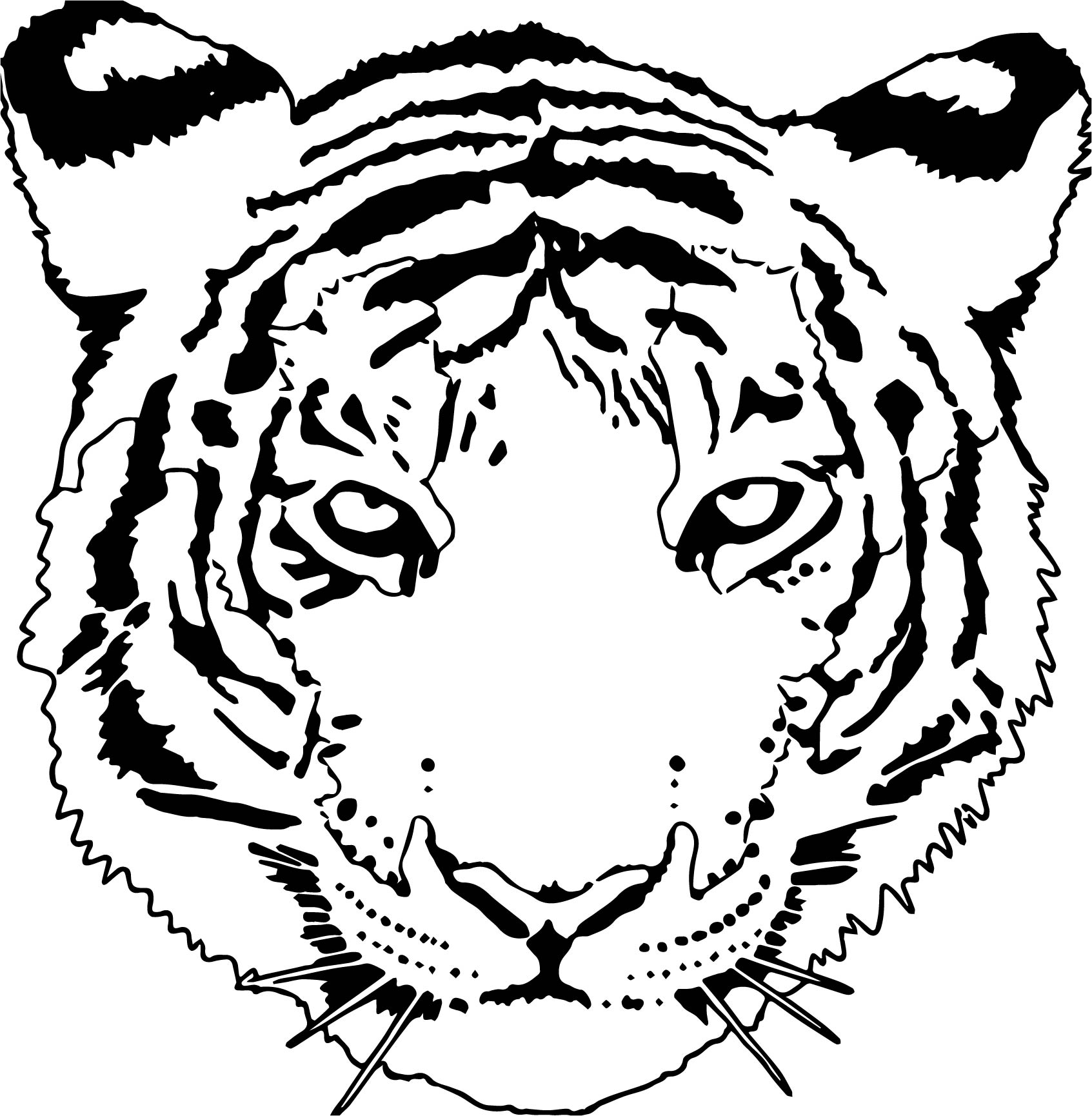Tiger Wild Face Coloring Page