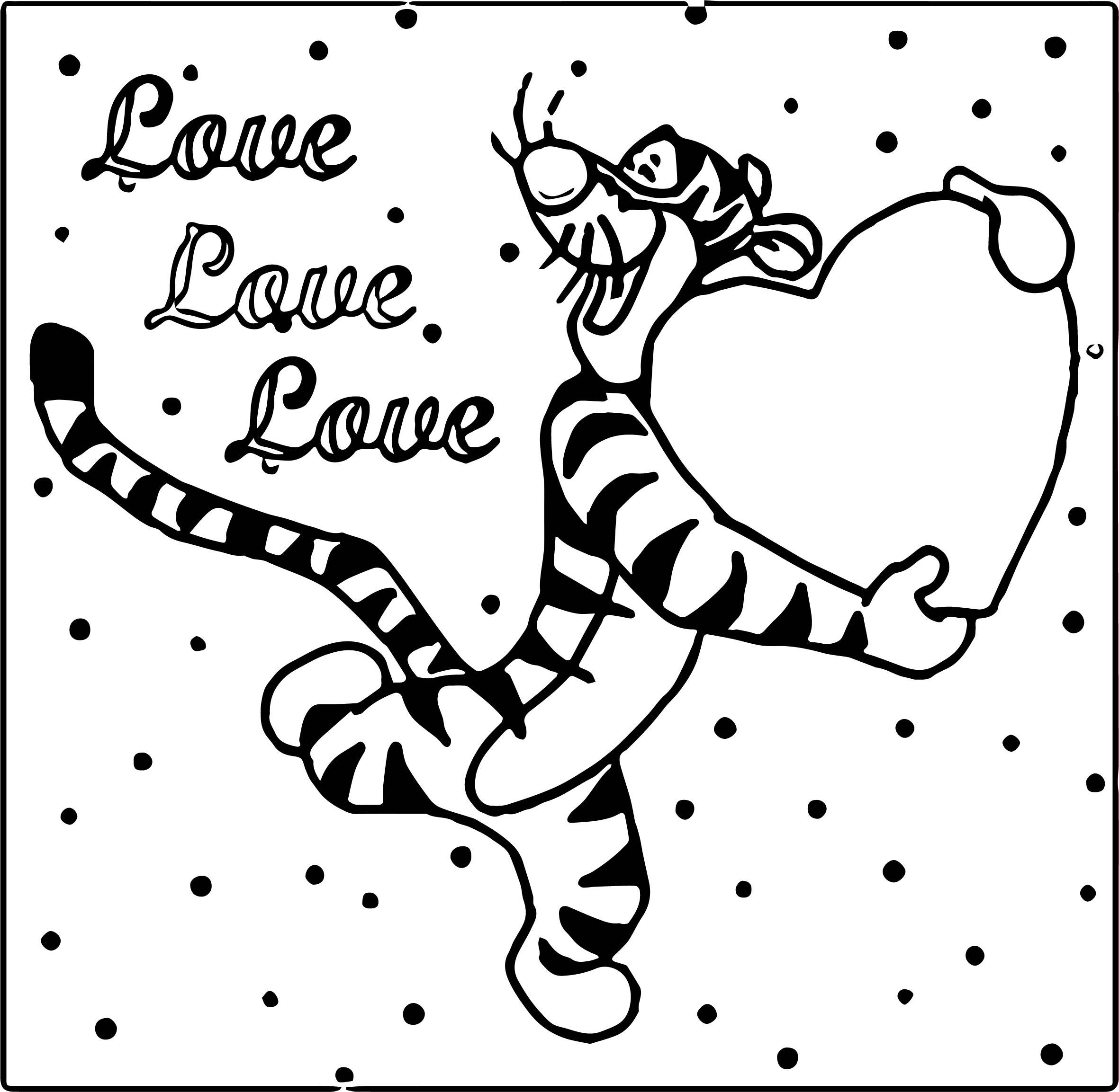 Tigger Love Love Love Coloring Page