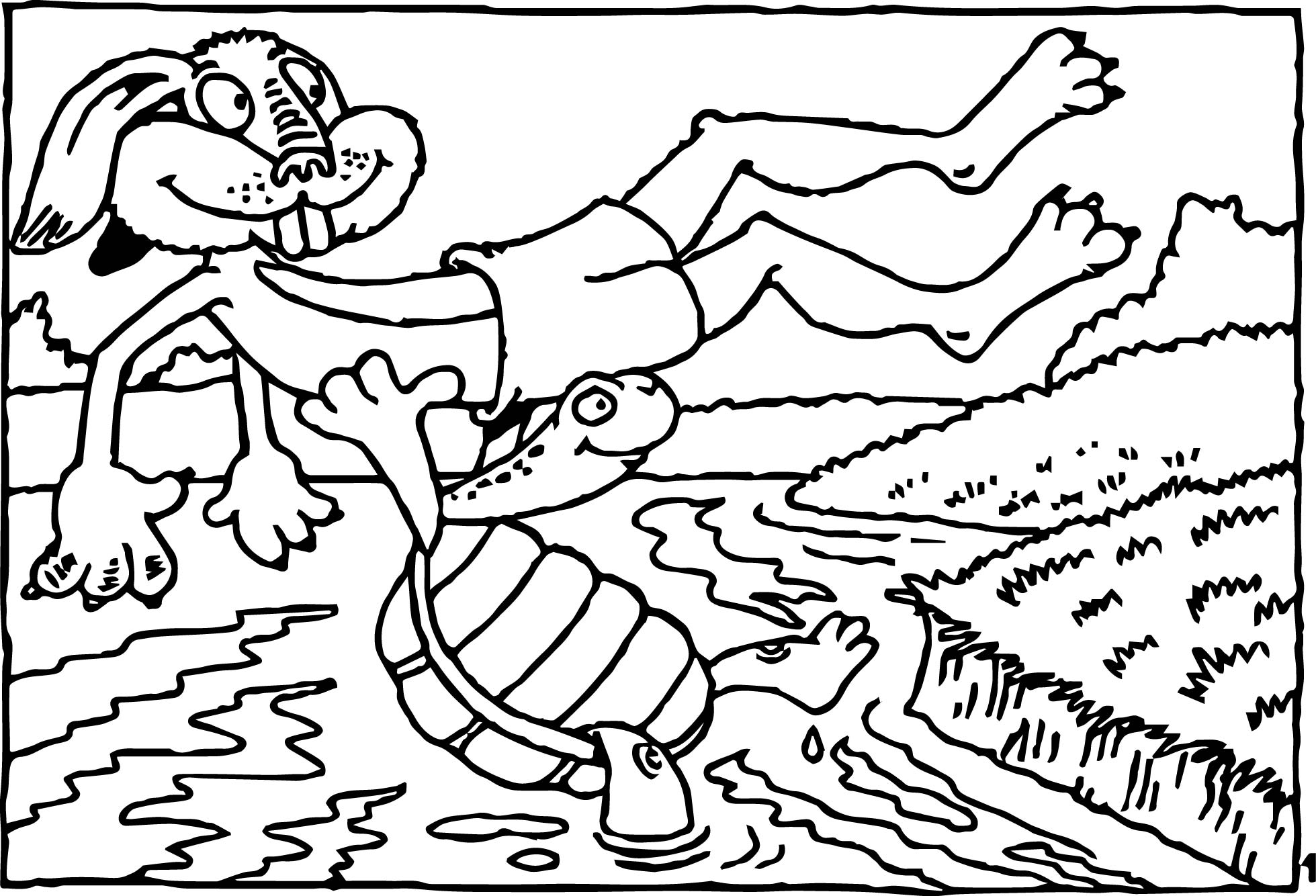 tortoise turtle river coloring page wecoloringpage