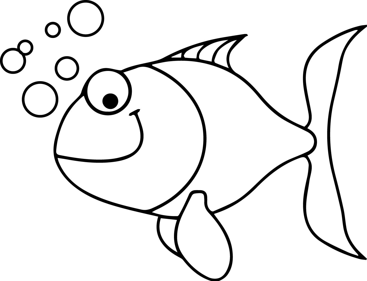 Under Water Cartoon Fish Coloring Page Sheet