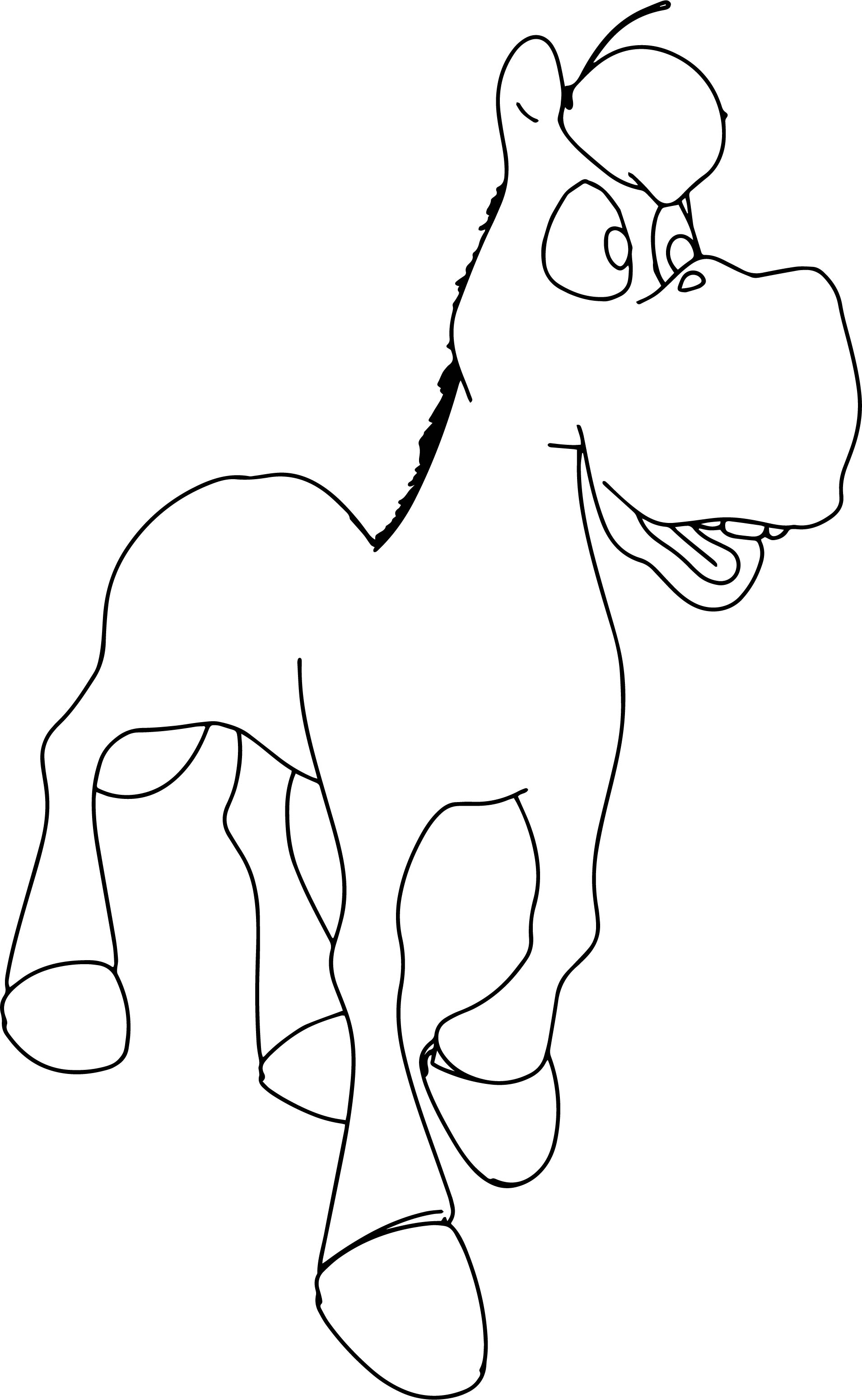 Walking Cartoon Horse Coloring Page