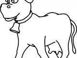 Walking Cow Bold Line Coloring Page