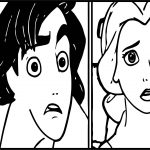 Walt Disney Characters Shocked Jasmine And Aladdin Coloring Page