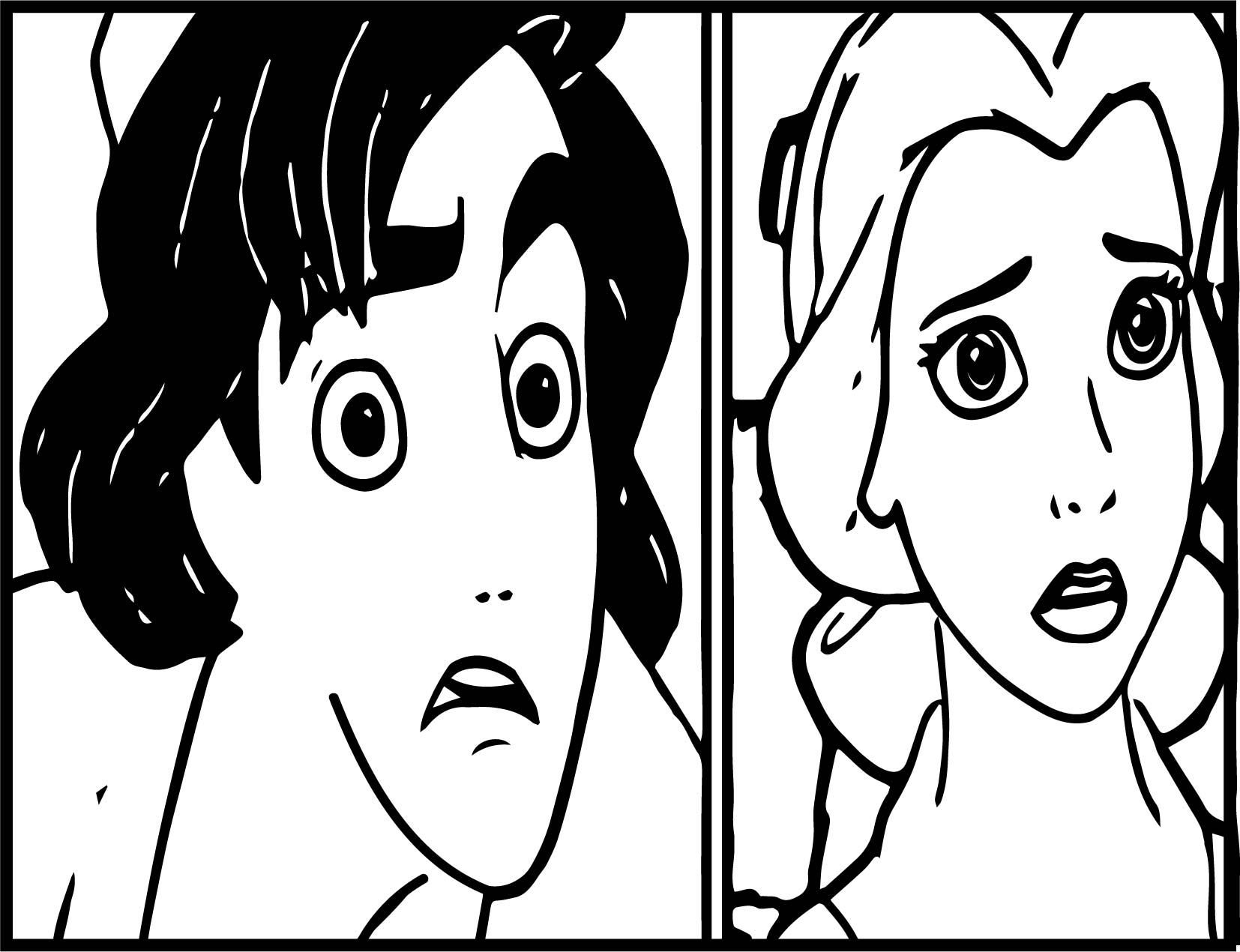 Walt Disney Characters Shocked Jasmine And Aladdin Coloring Page ...