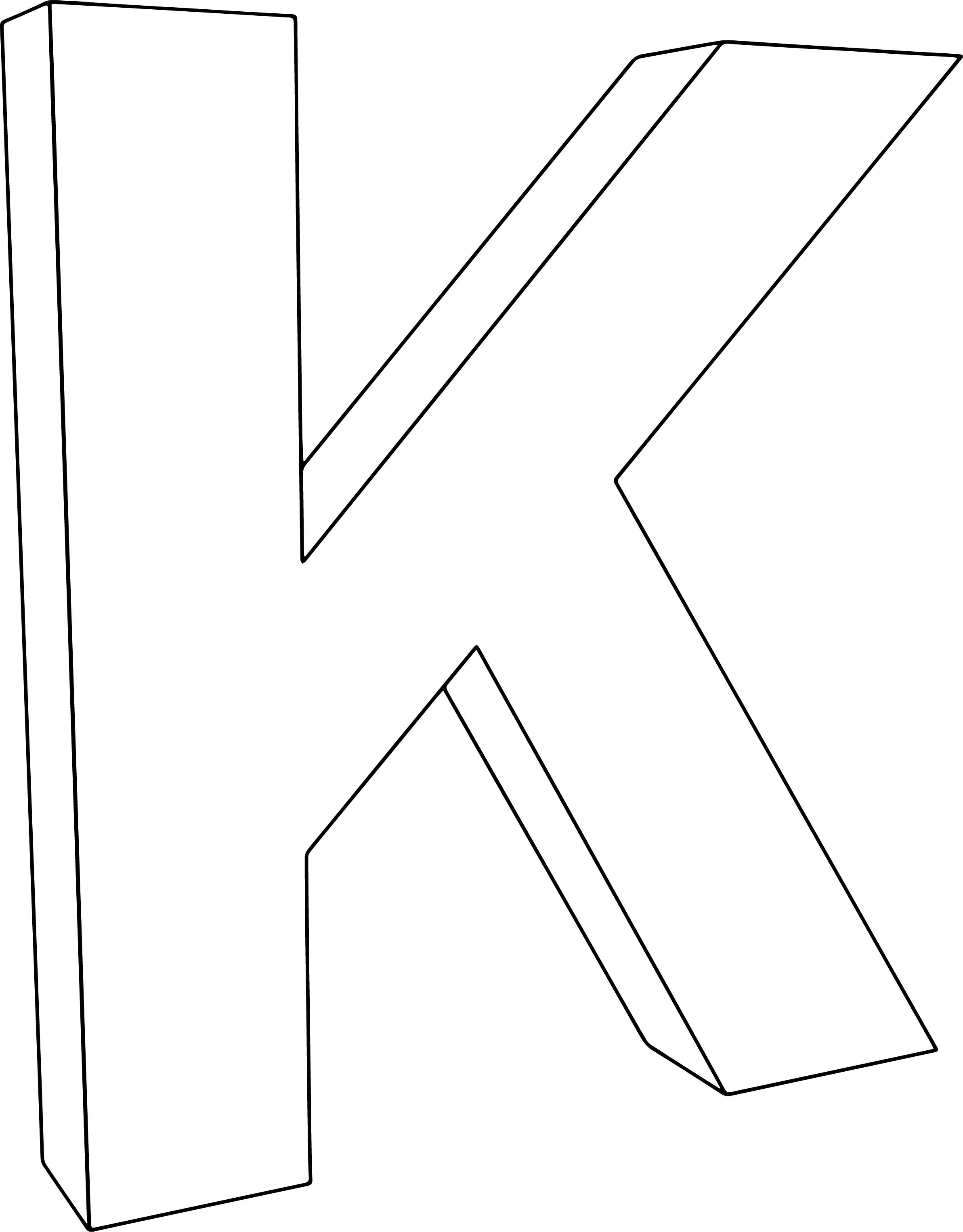 3d K Character Coloring Page