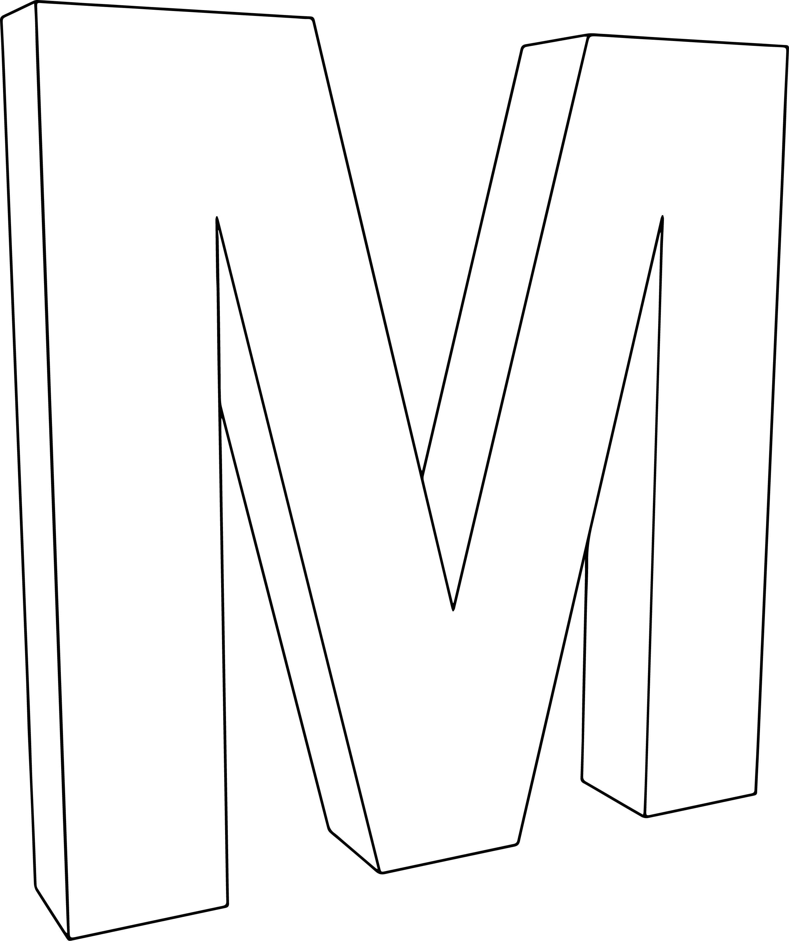 3d M Character Coloring Page