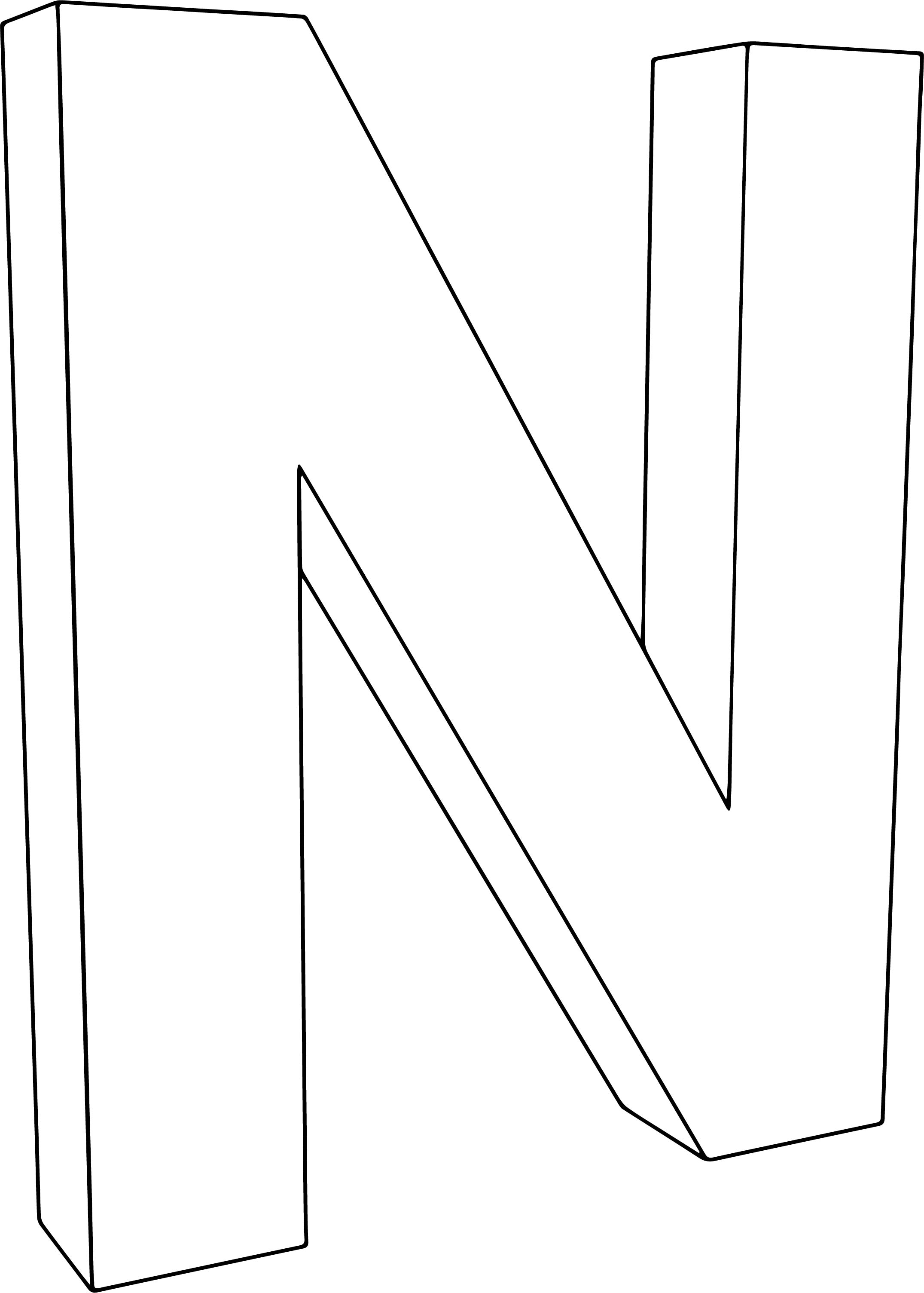 3d N Character Coloring Page