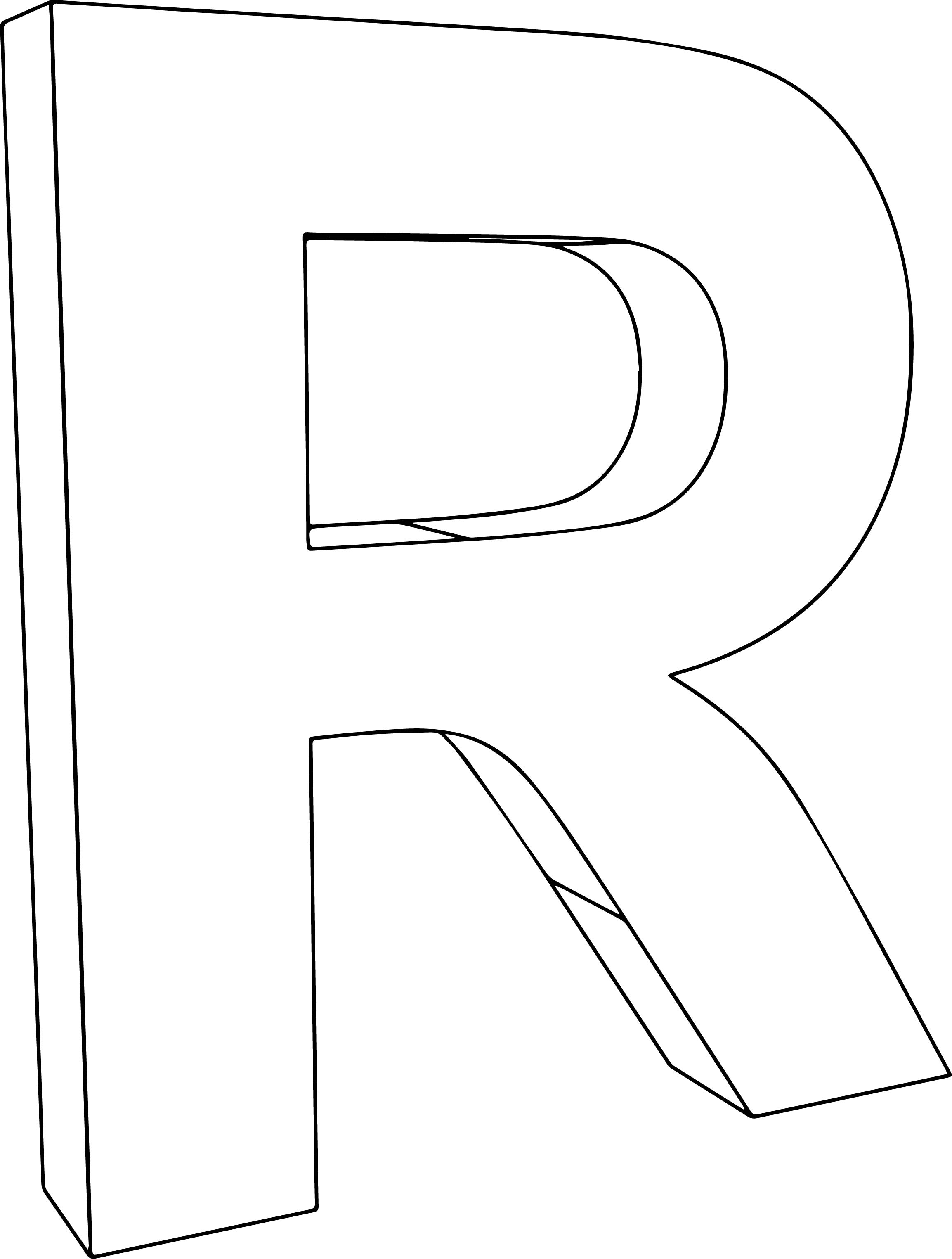 3d R Character Coloring Page