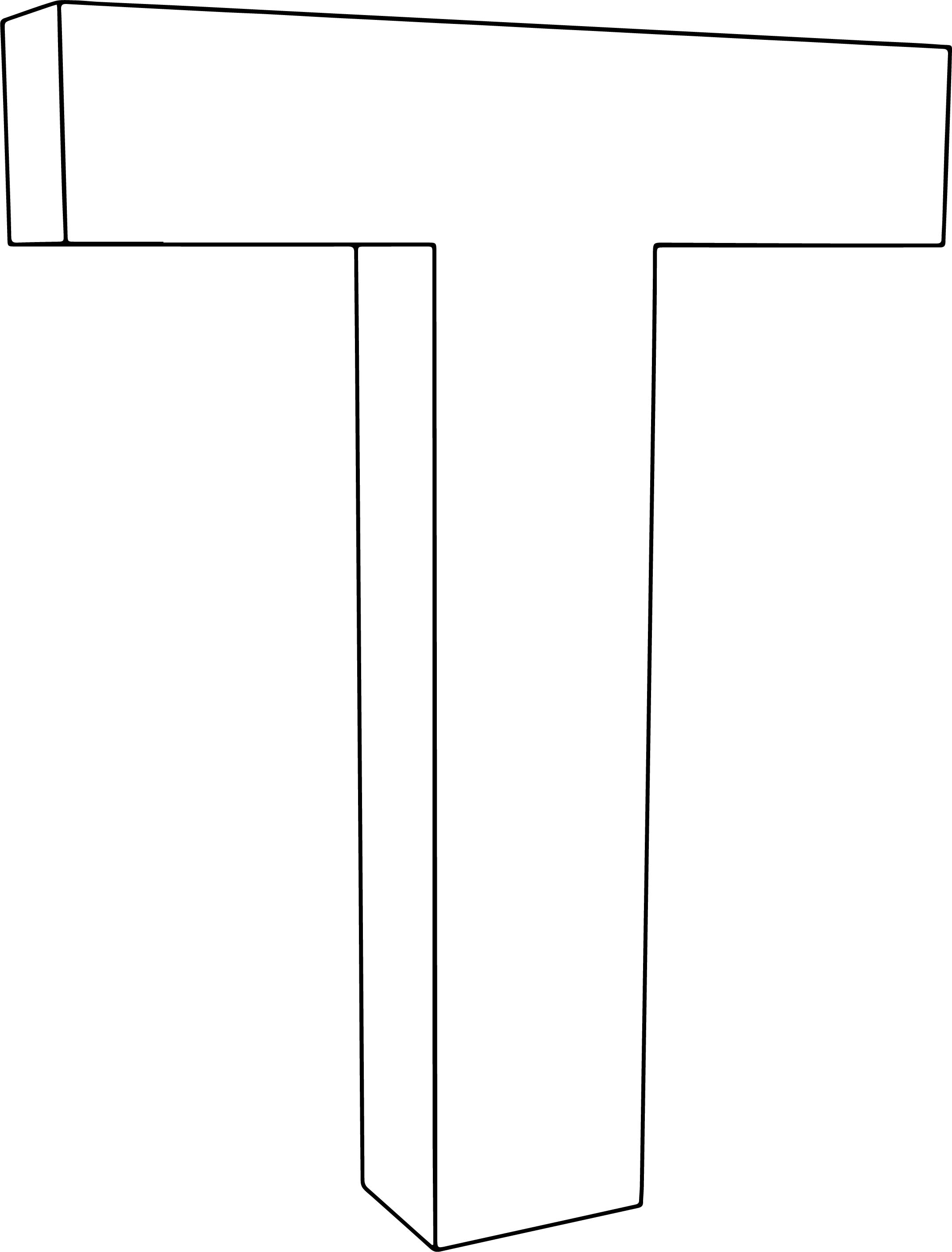 3d T Character Coloring Page