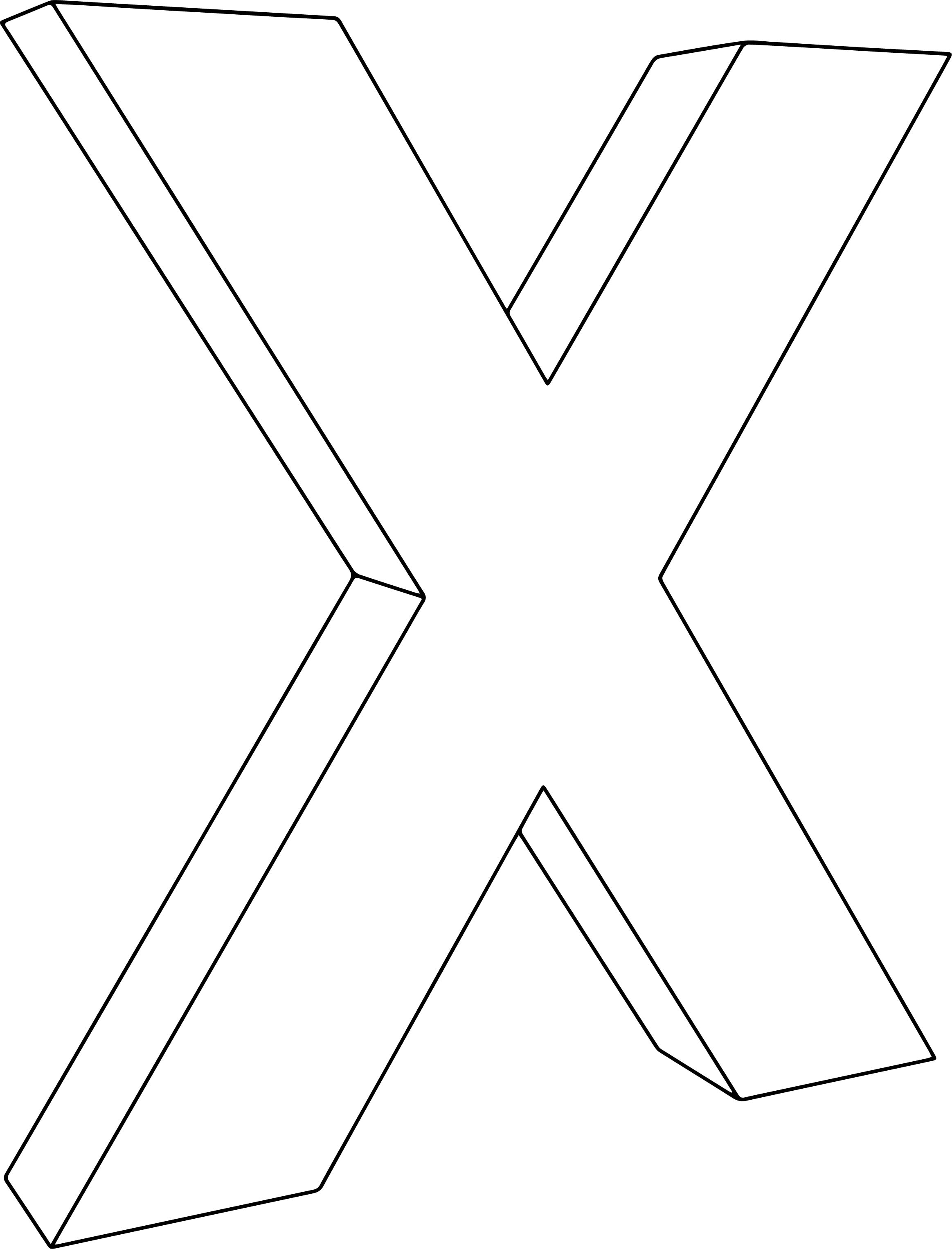 3d X Character Coloring Page