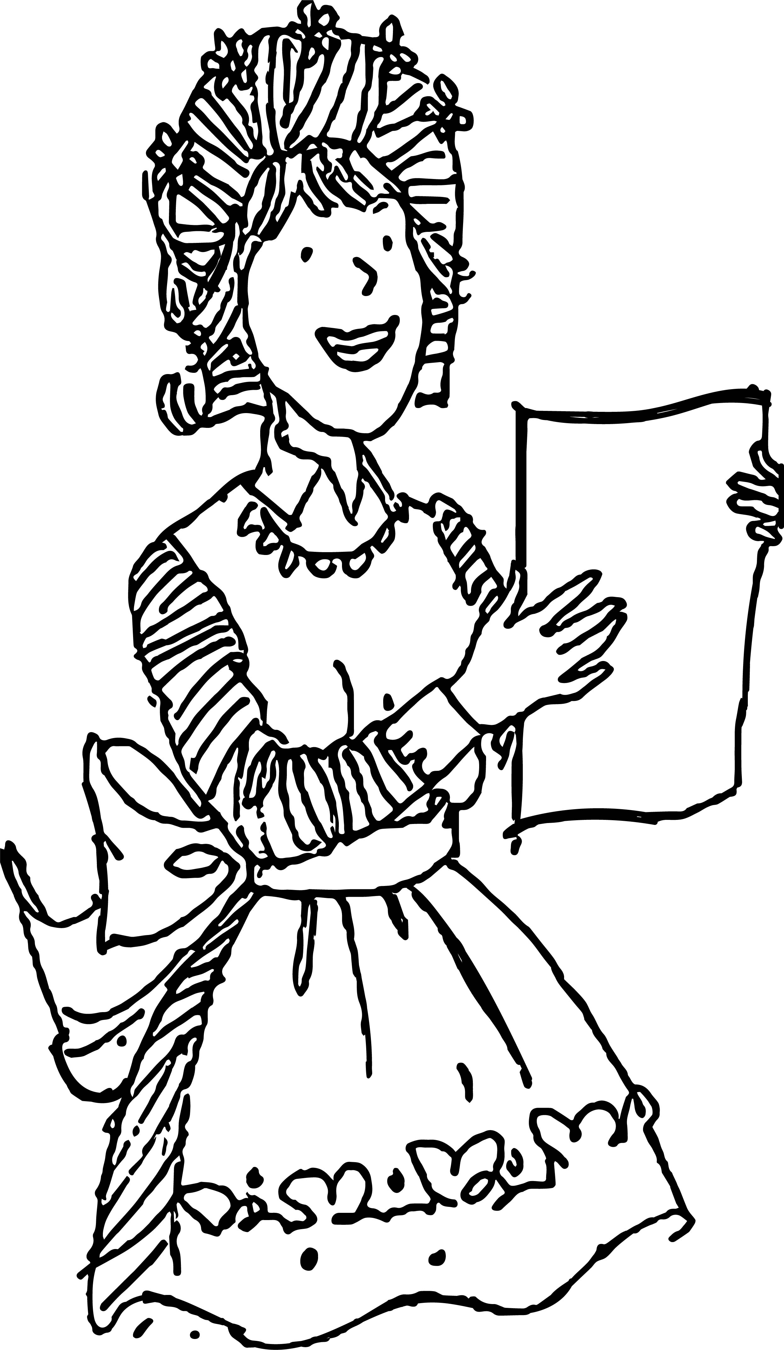 amelia bedelia coloring pages images for adults | Amelia Holding Recipe Coloring Page | Wecoloringpage.com