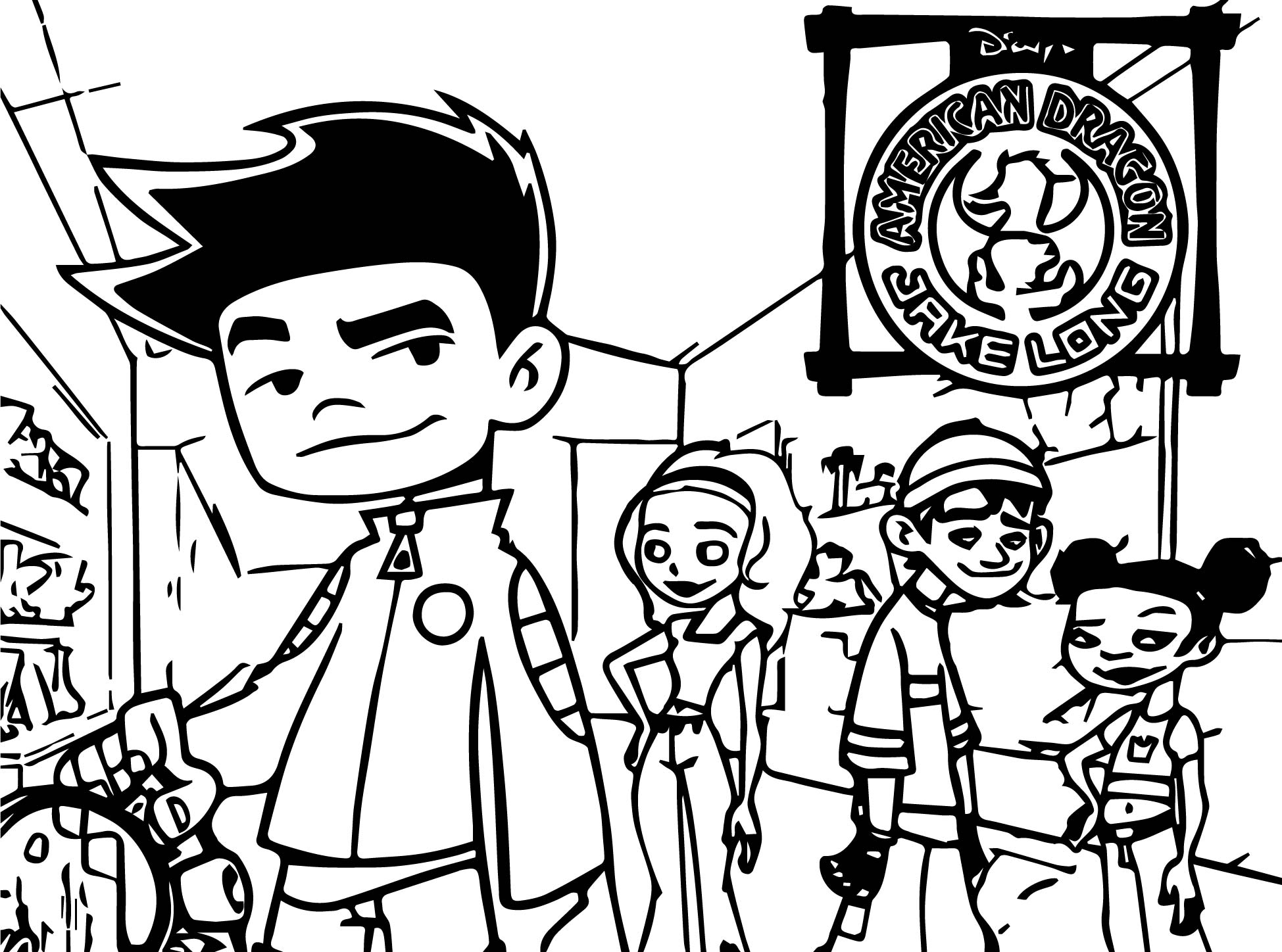 American Dragon Jake Long All Coloring Page