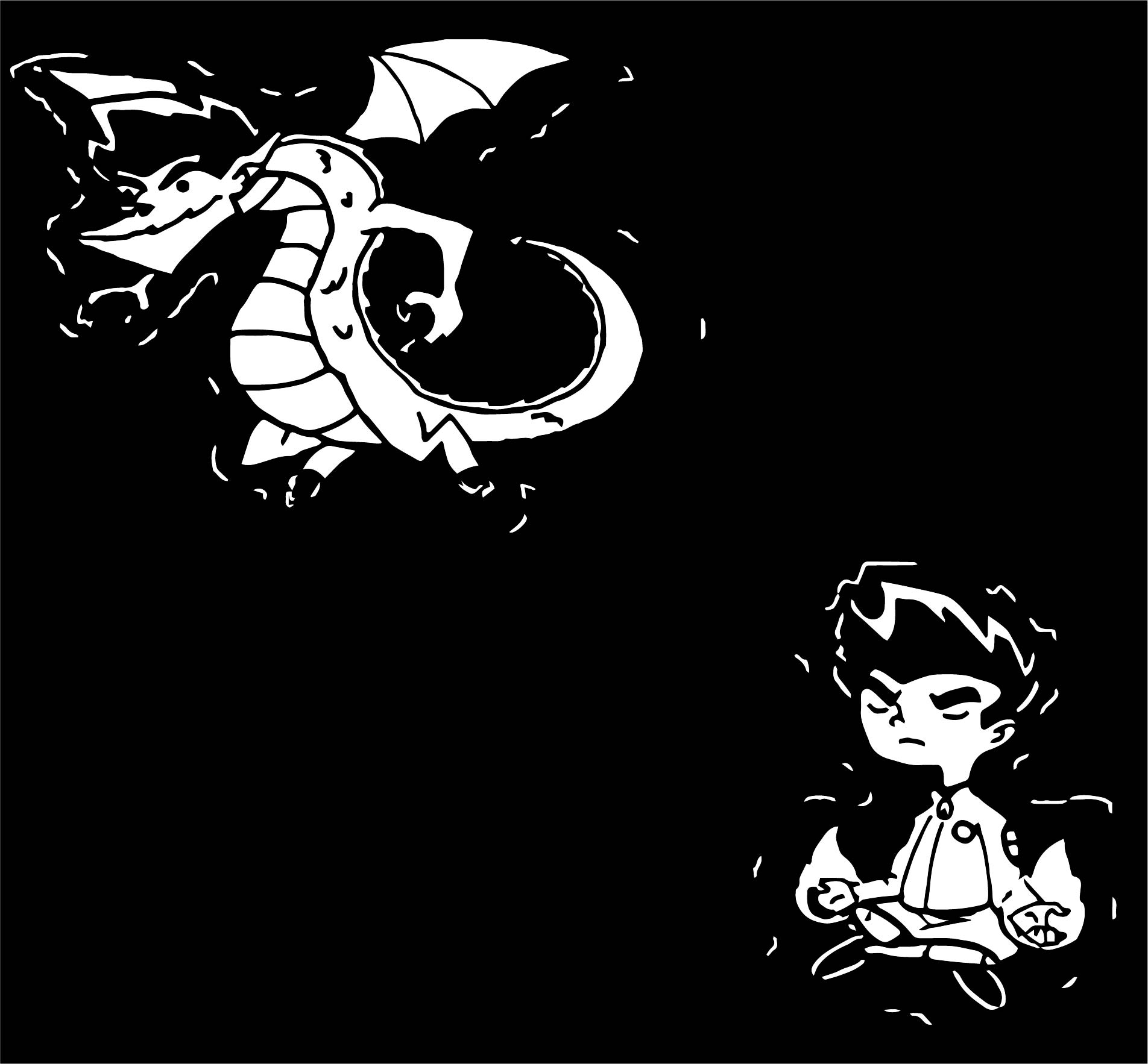American Dragon Jake Long Black Background Coloring Page
