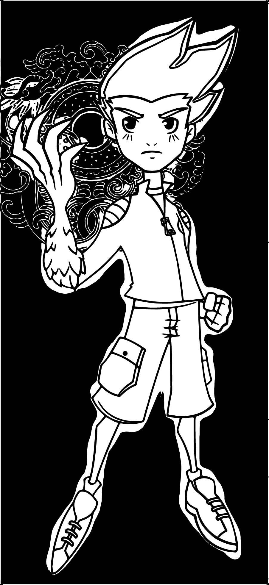 American Dragon Jake Long Black Power Coloring Page