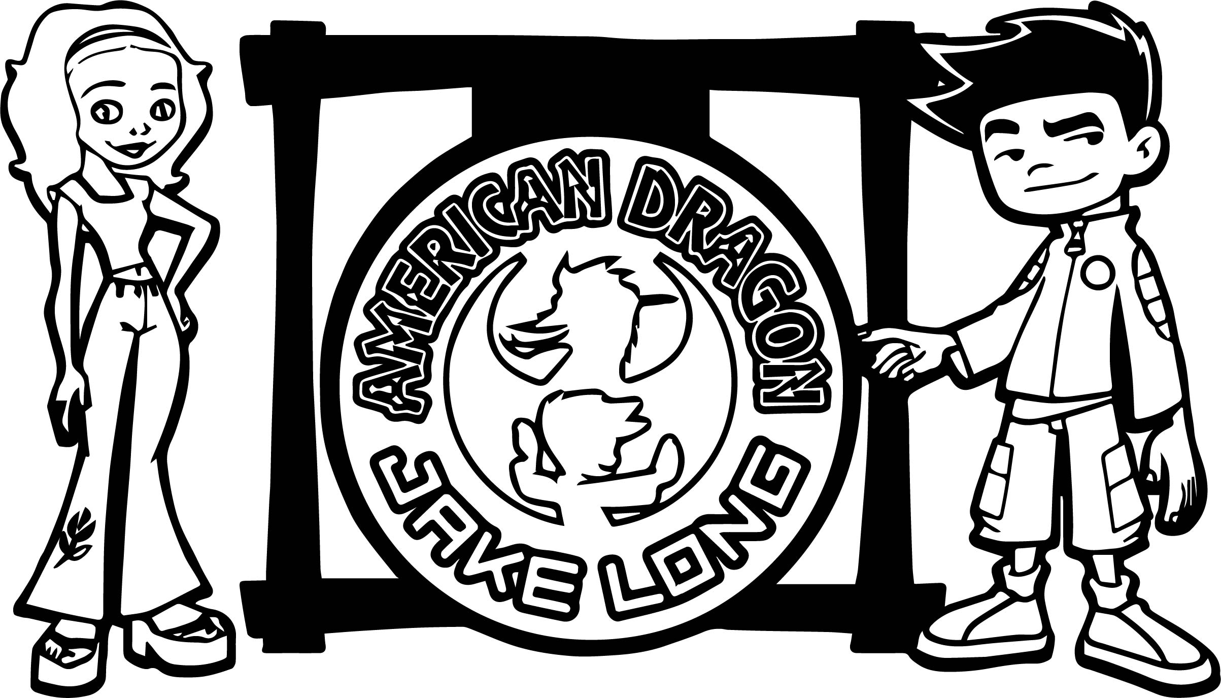 American Dragon Jake Long Boy And Girl Coloring Page