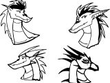 American Dragon Jake Long Four Head Coloring Page