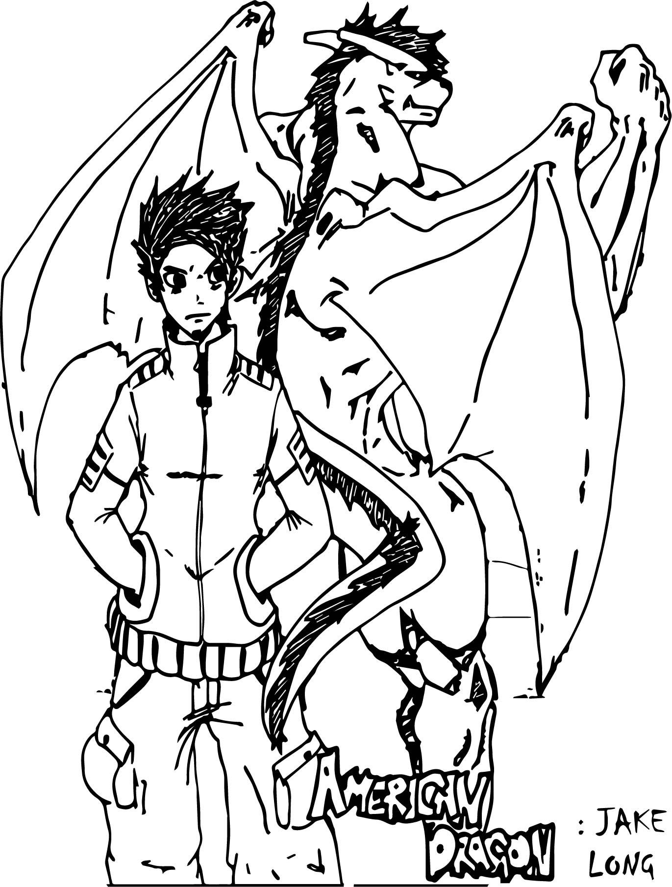 American Dragon Jake Long Sketch Coloring Page