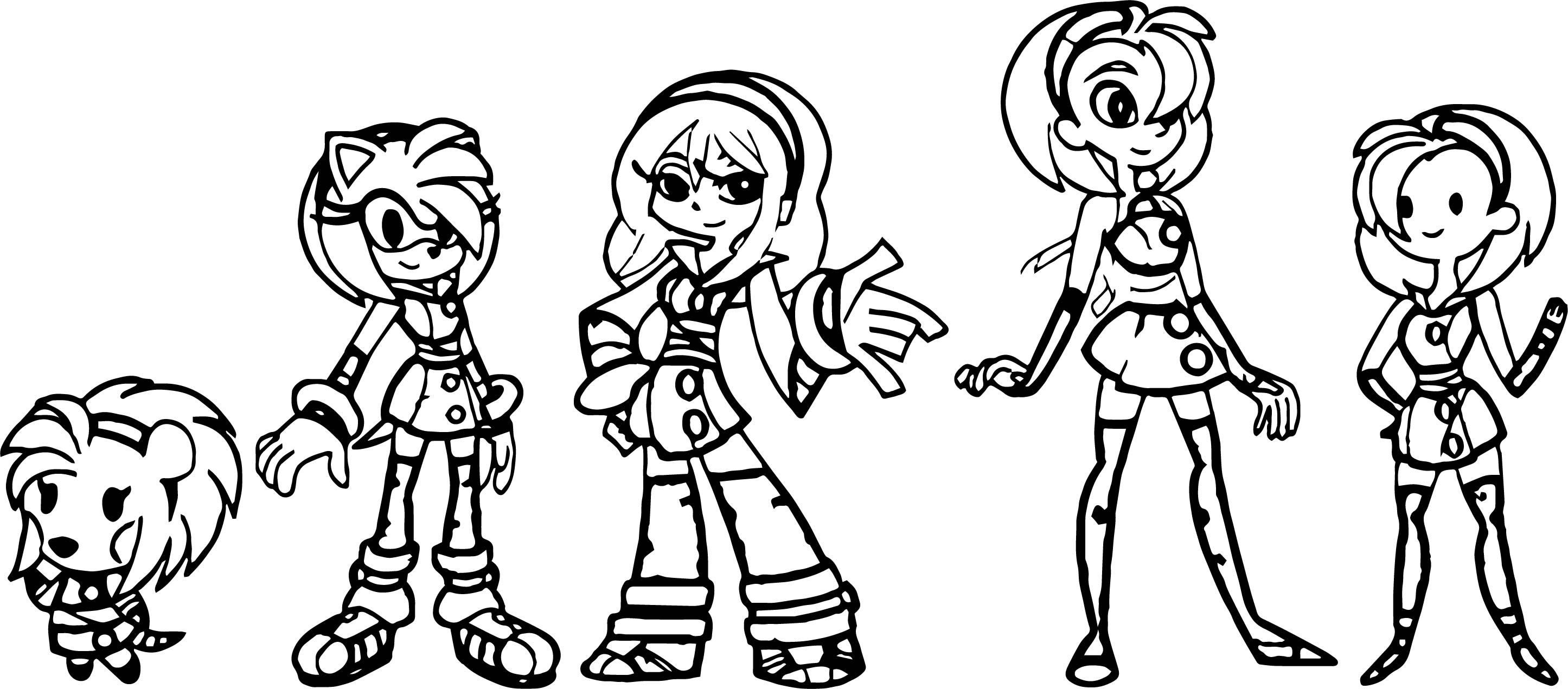 Amy Rose And Friends Coloring Pages