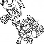 Amy Rose And Sonic Action Coloring Page