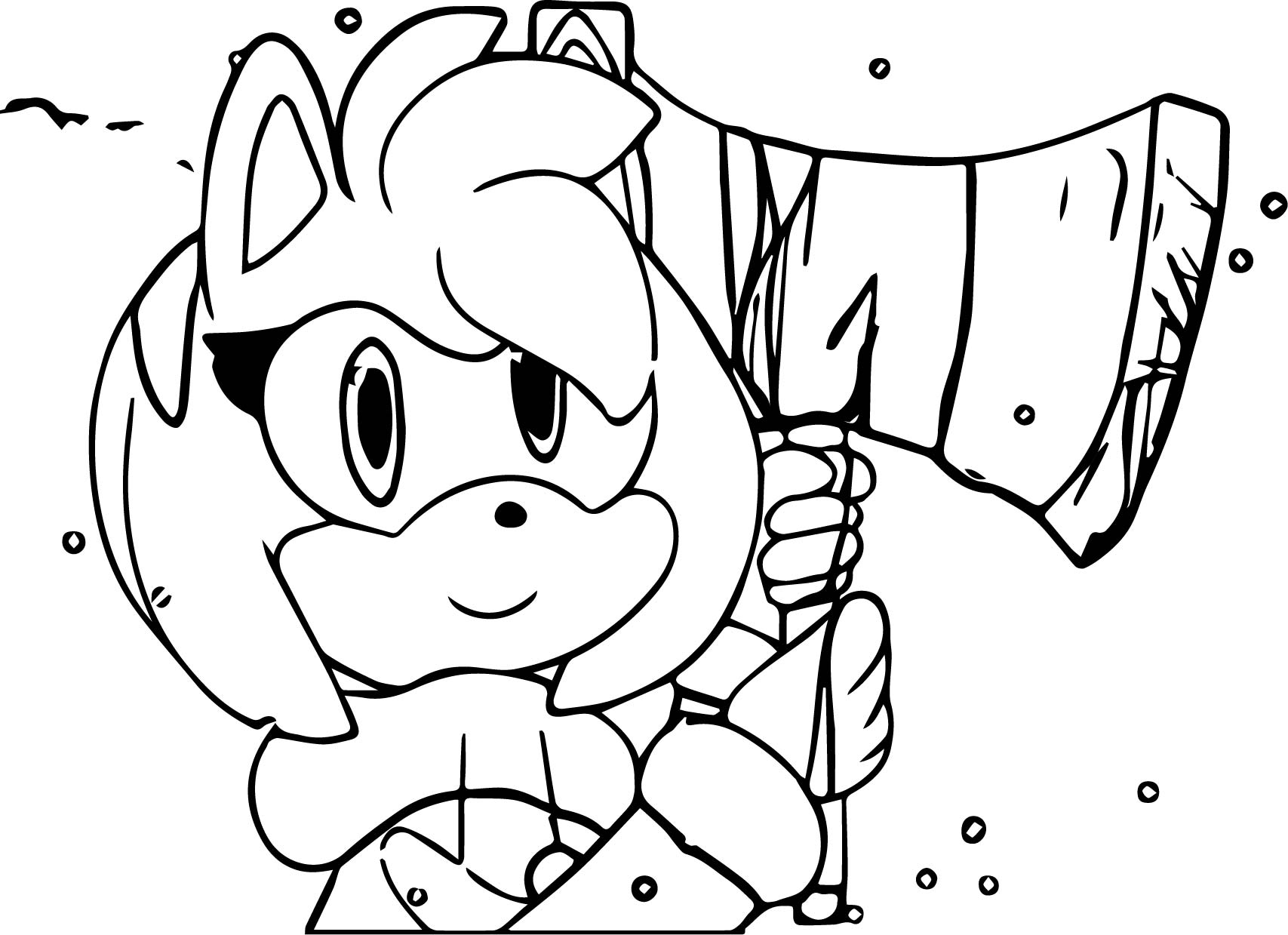 Amy Rose Axe Coloring Page