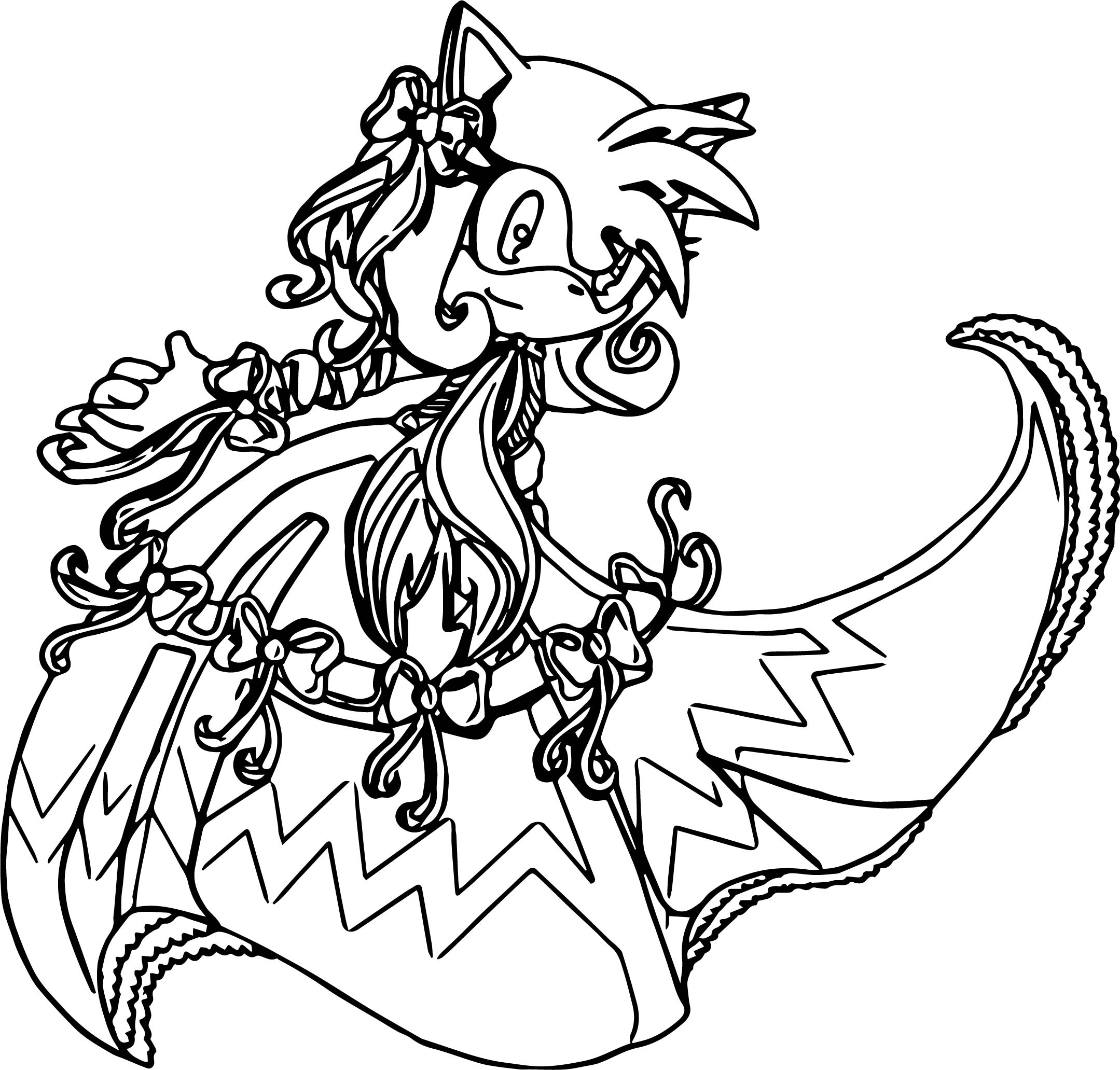 Amy Rose Bow Dress Coloring Page