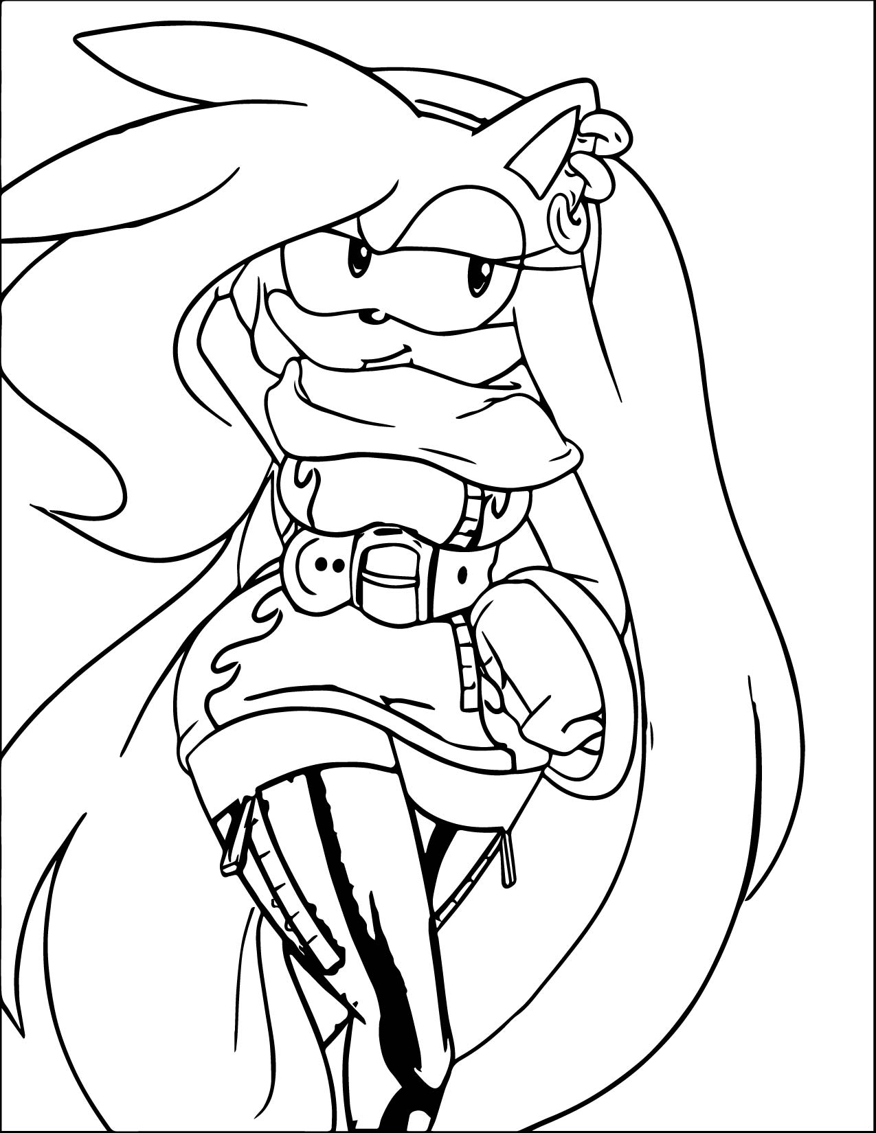 Amy Rose Long Hair Coloring Page | Wecoloringpage.com