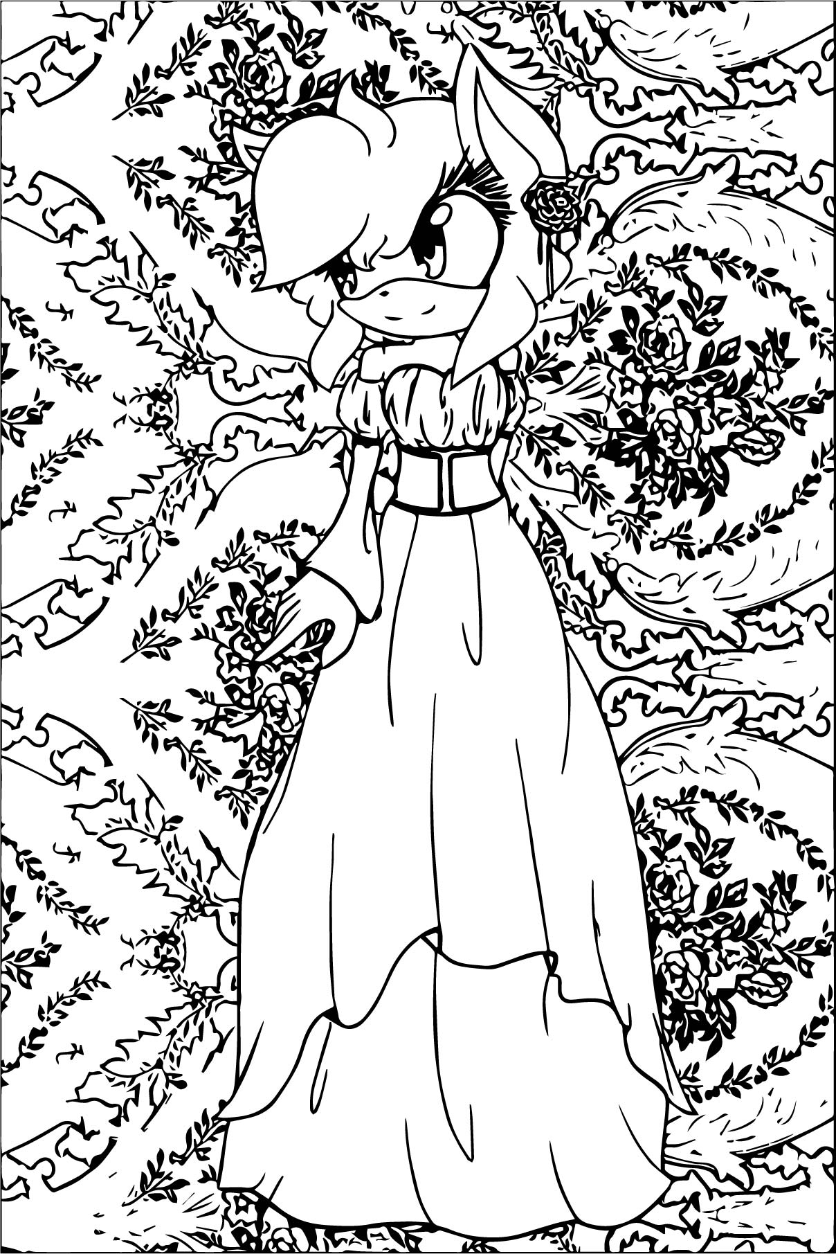 Amy Rose Roses Coloring Page