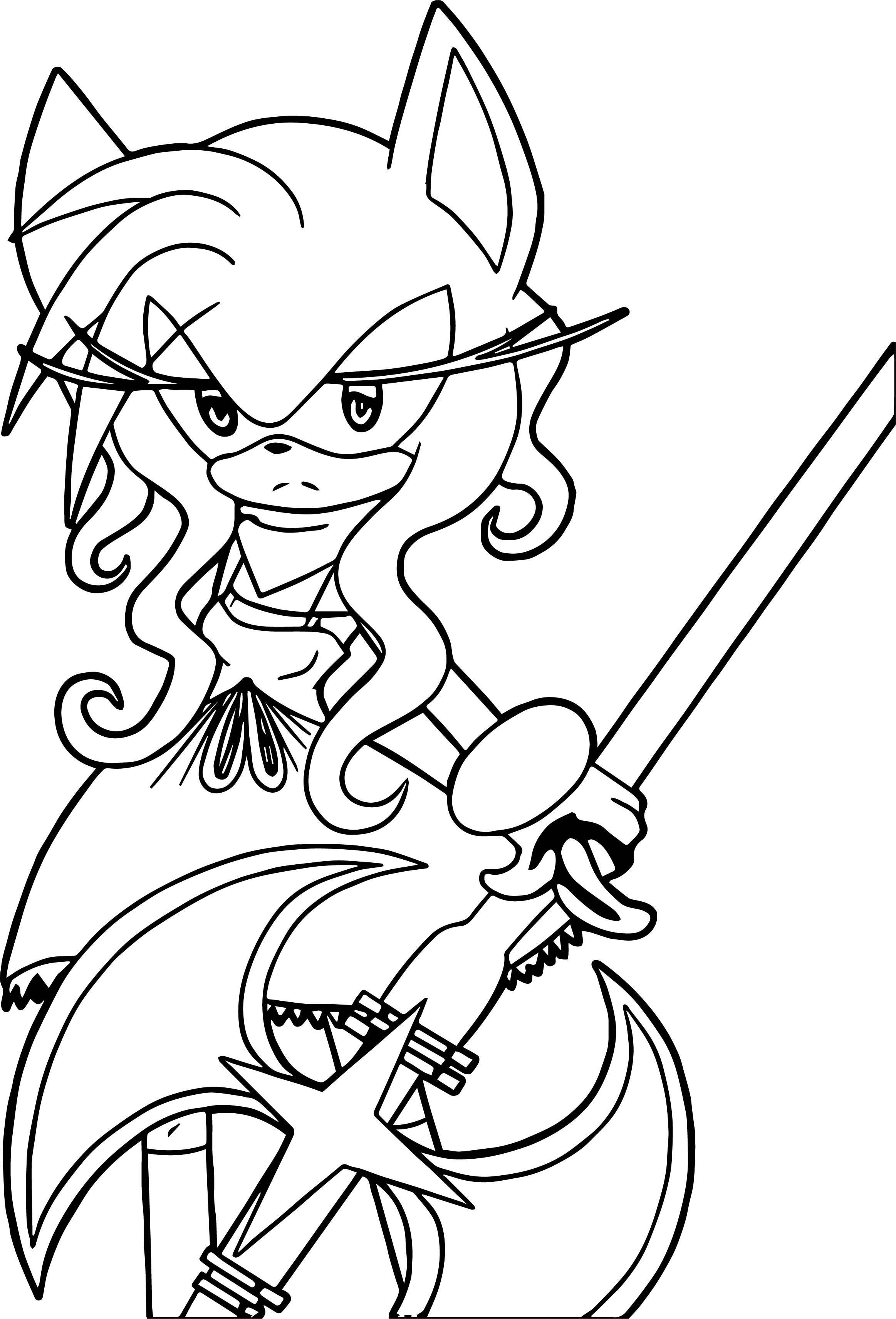 Amy Rose Samurai Coloring Page