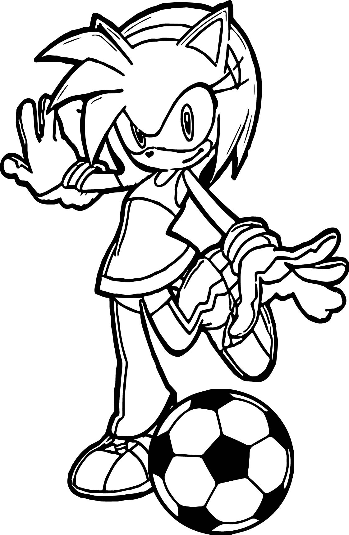 Amy Rose Soccer Ball Kick Coloring Page Wecoloringpage