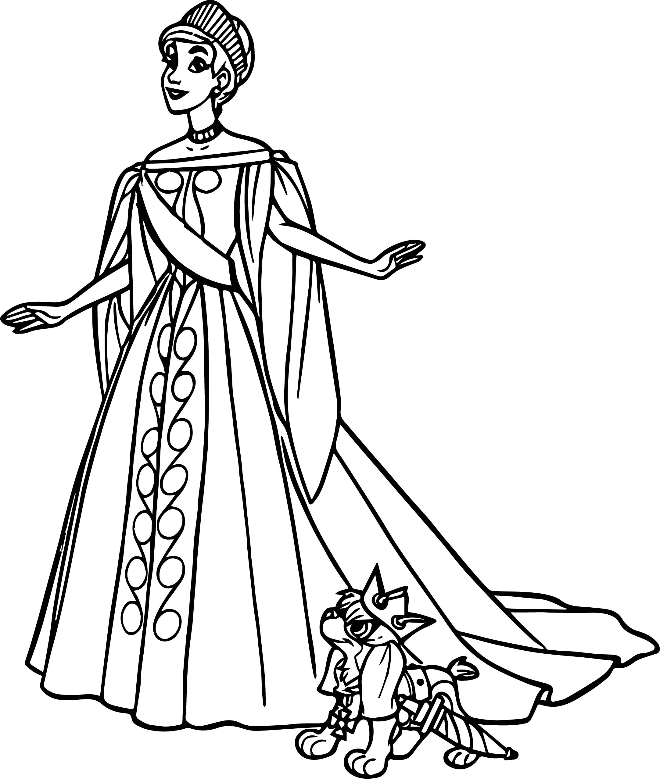 Anastasia In White Dress Coloring Page