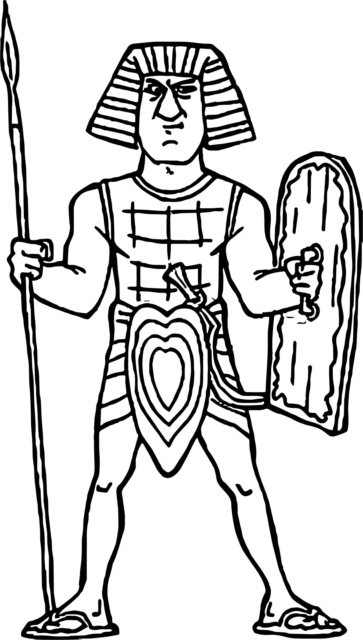 Ancient Egyptian Warrior On A White Background Illustration Coloring Page