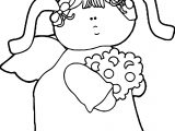Angel Girl Flower Coloring Page