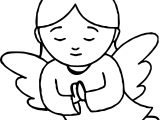 Angel With Halo Praying Coloring Page