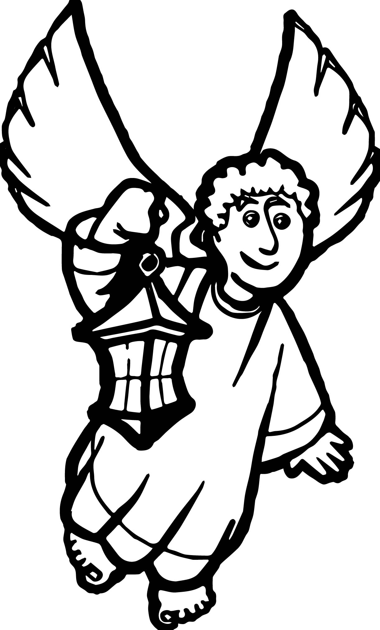 Angel with lantern coloring page for Lantern coloring pages